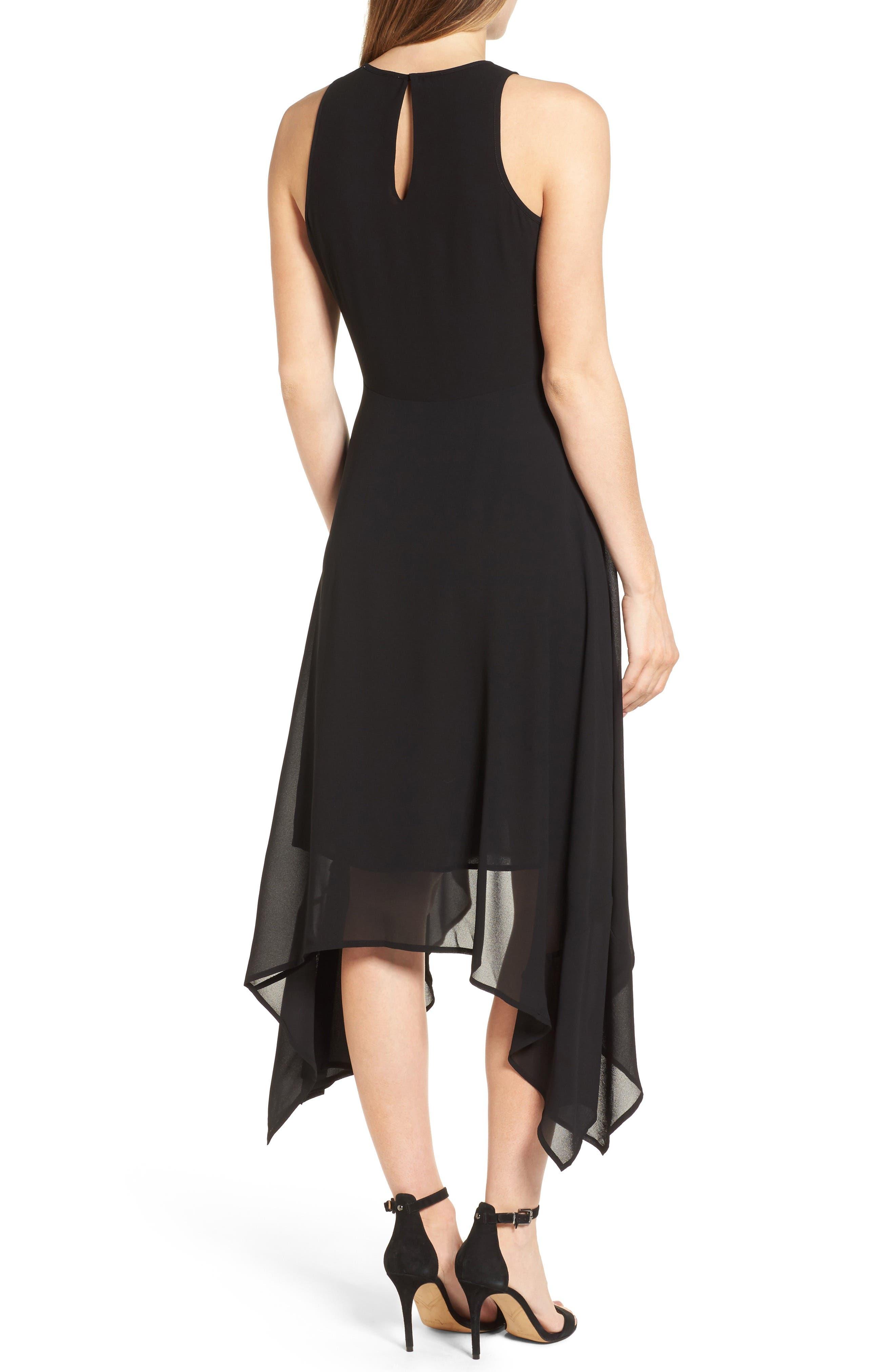 High/Low Georgette Dress,                             Alternate thumbnail 2, color,                             001