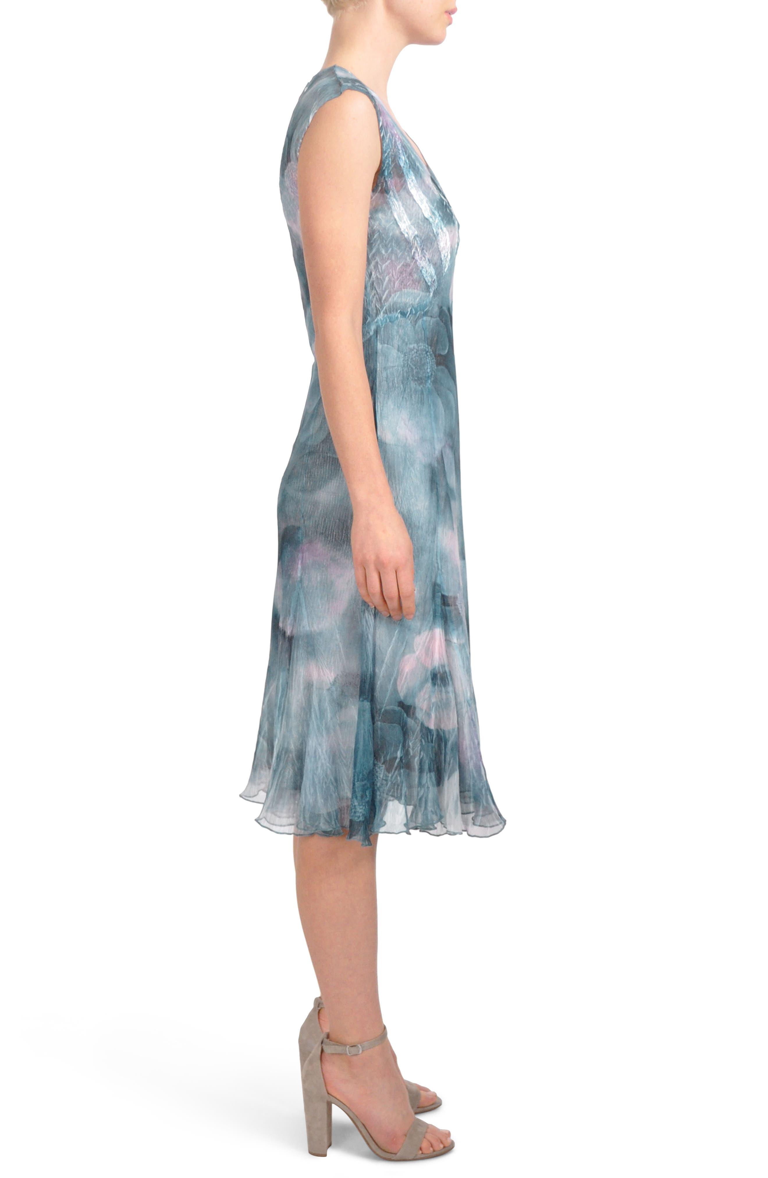 Print Chiffon A-Line Midi Dress,                             Alternate thumbnail 3, color,