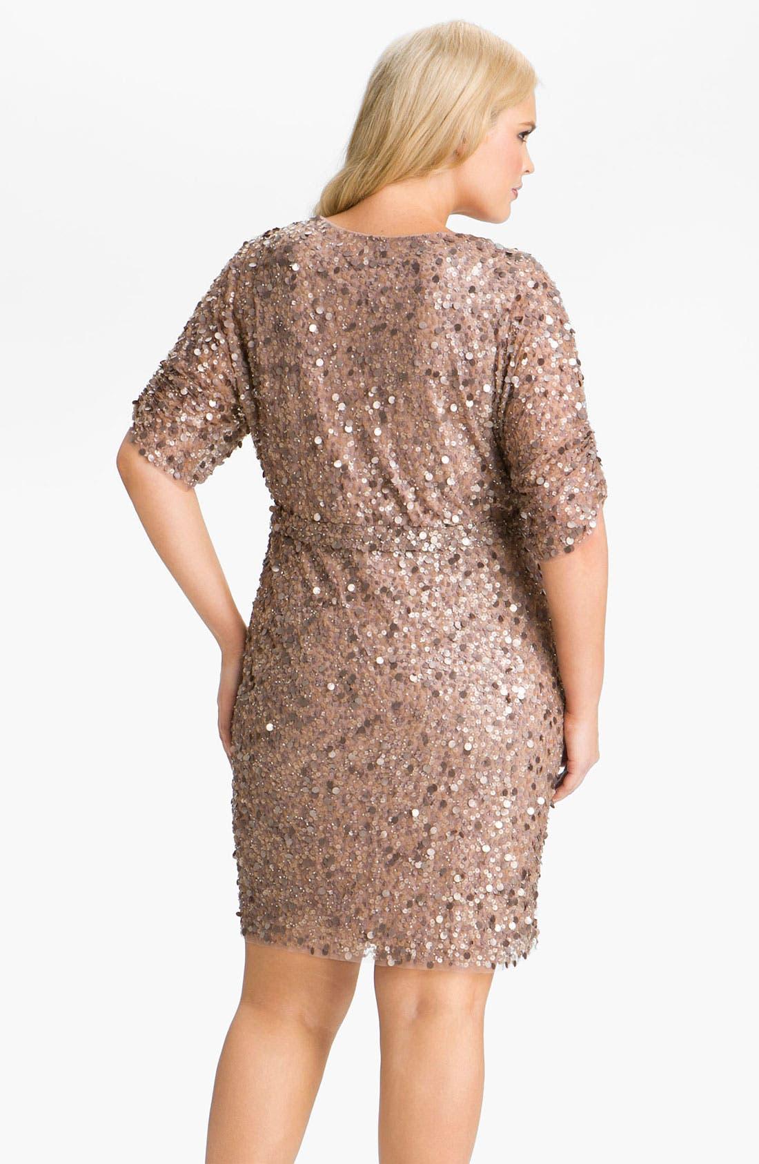 Sequin Surplice Mesh Dress,                             Alternate thumbnail 3, color,                             710