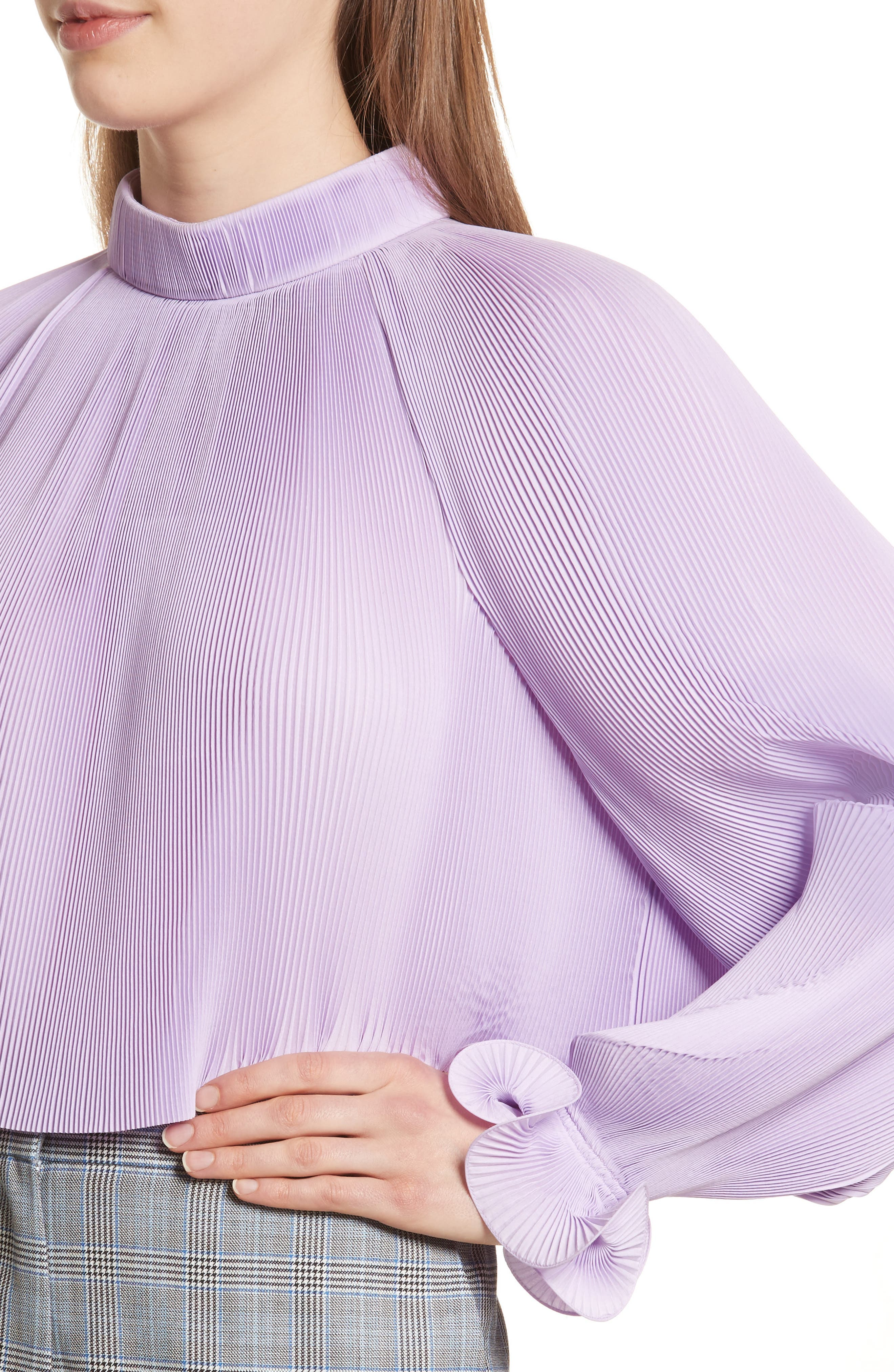 Pleated Crop Top,                             Alternate thumbnail 16, color,
