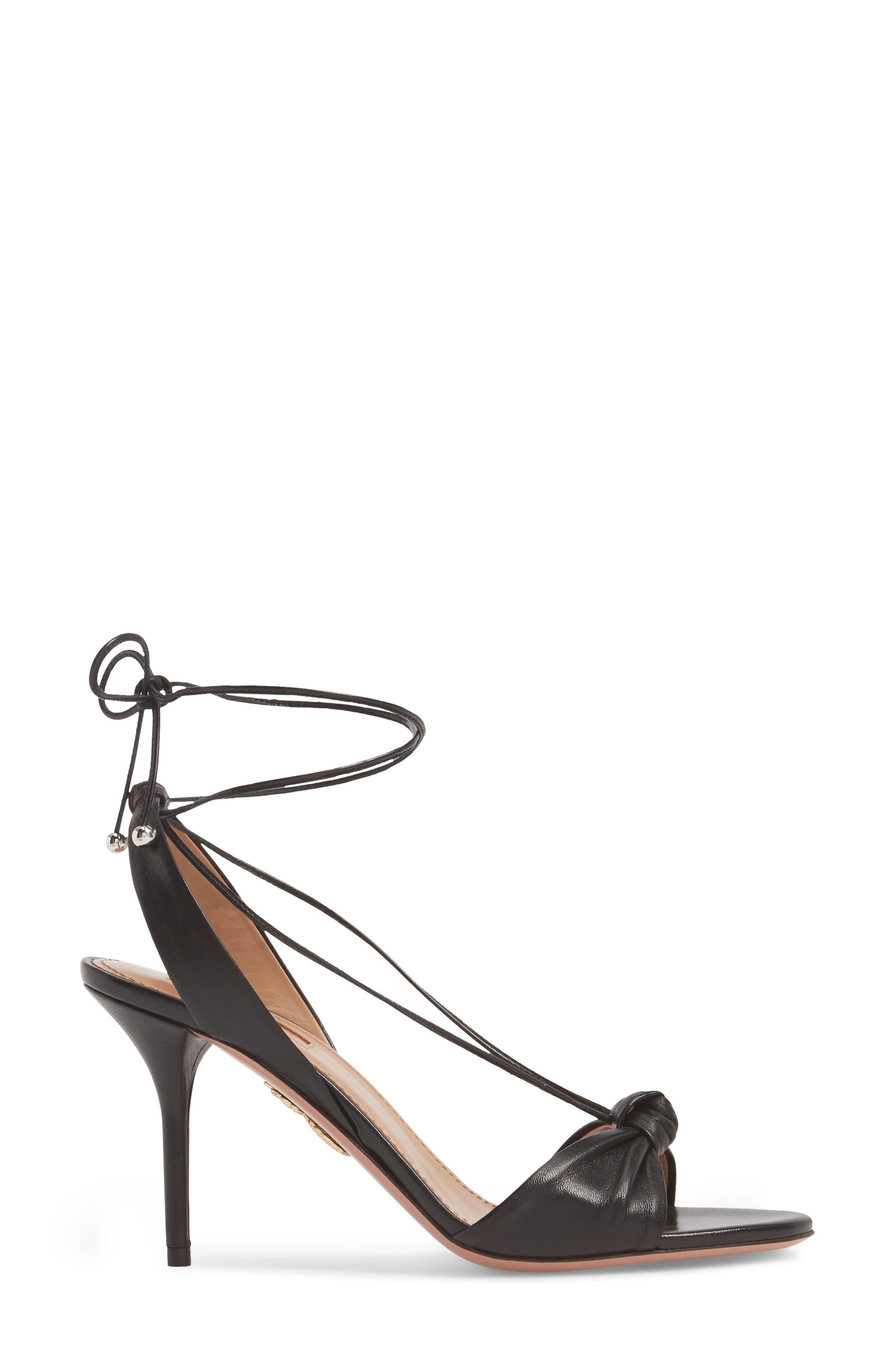 Virginie Lace-Up Sandal,                             Alternate thumbnail 3, color,                             BLACK