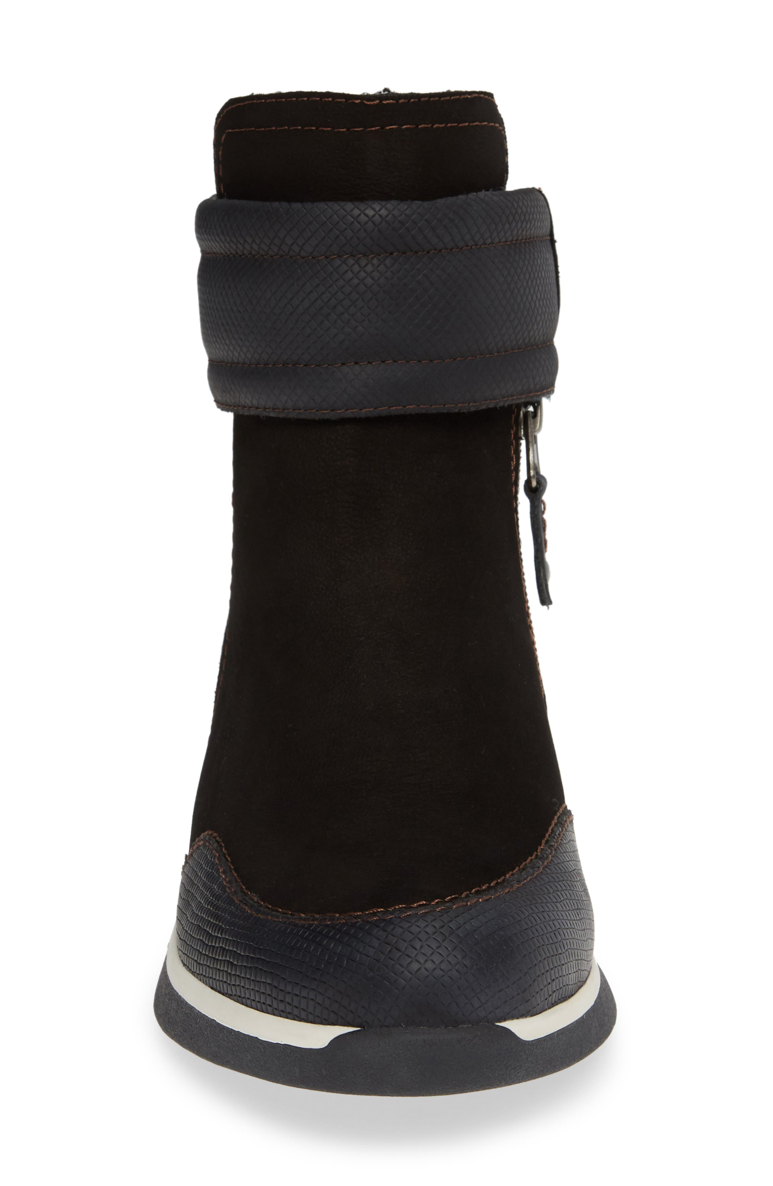 Outing Bootie,                             Alternate thumbnail 4, color,                             BLACK LEATHER