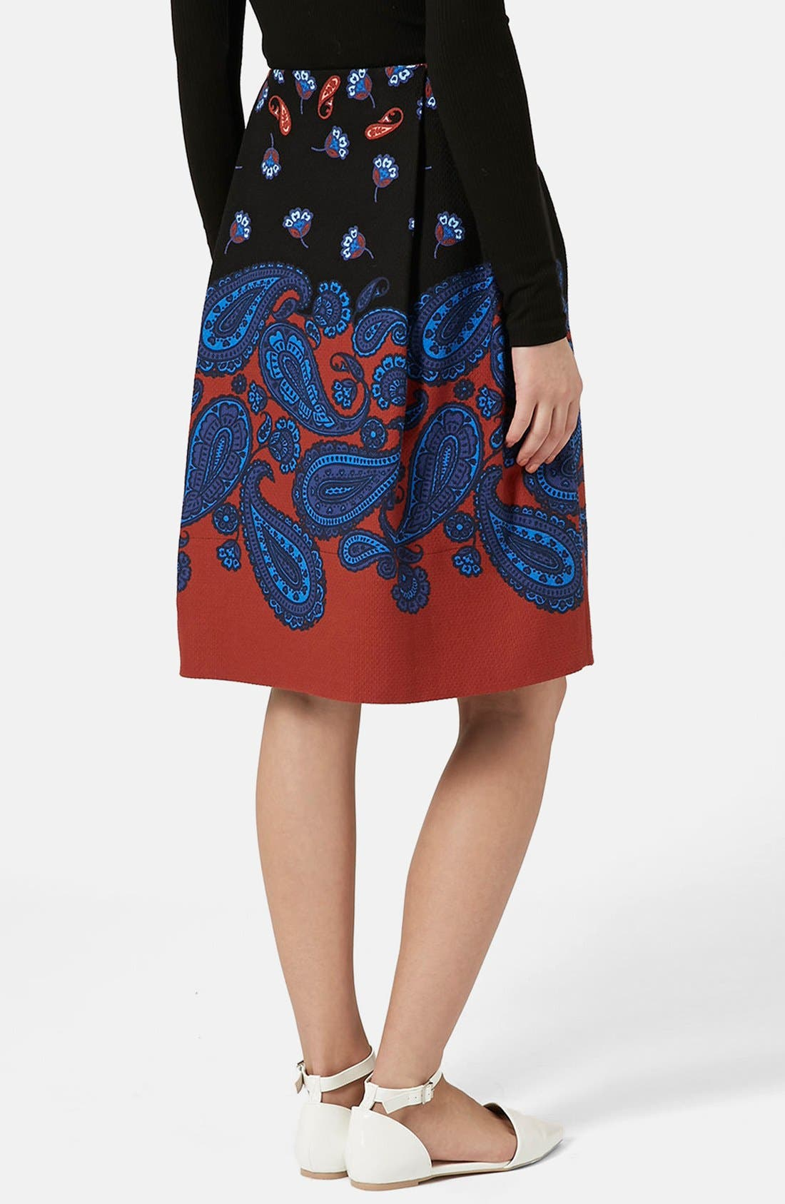 TOPSHOP,                             Paisley Midi Skirt,                             Alternate thumbnail 2, color,                             001