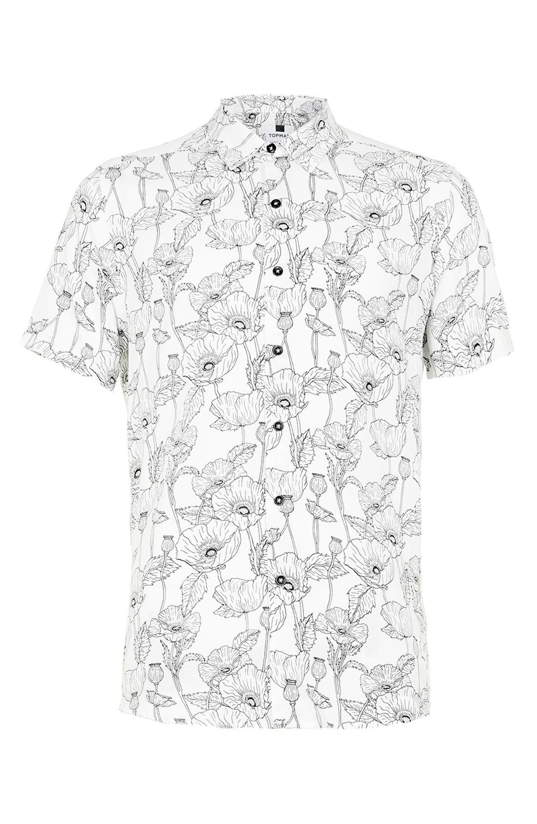 Slim Fit Short Sleeve Poppy Print Shirt,                         Main,                         color, 100