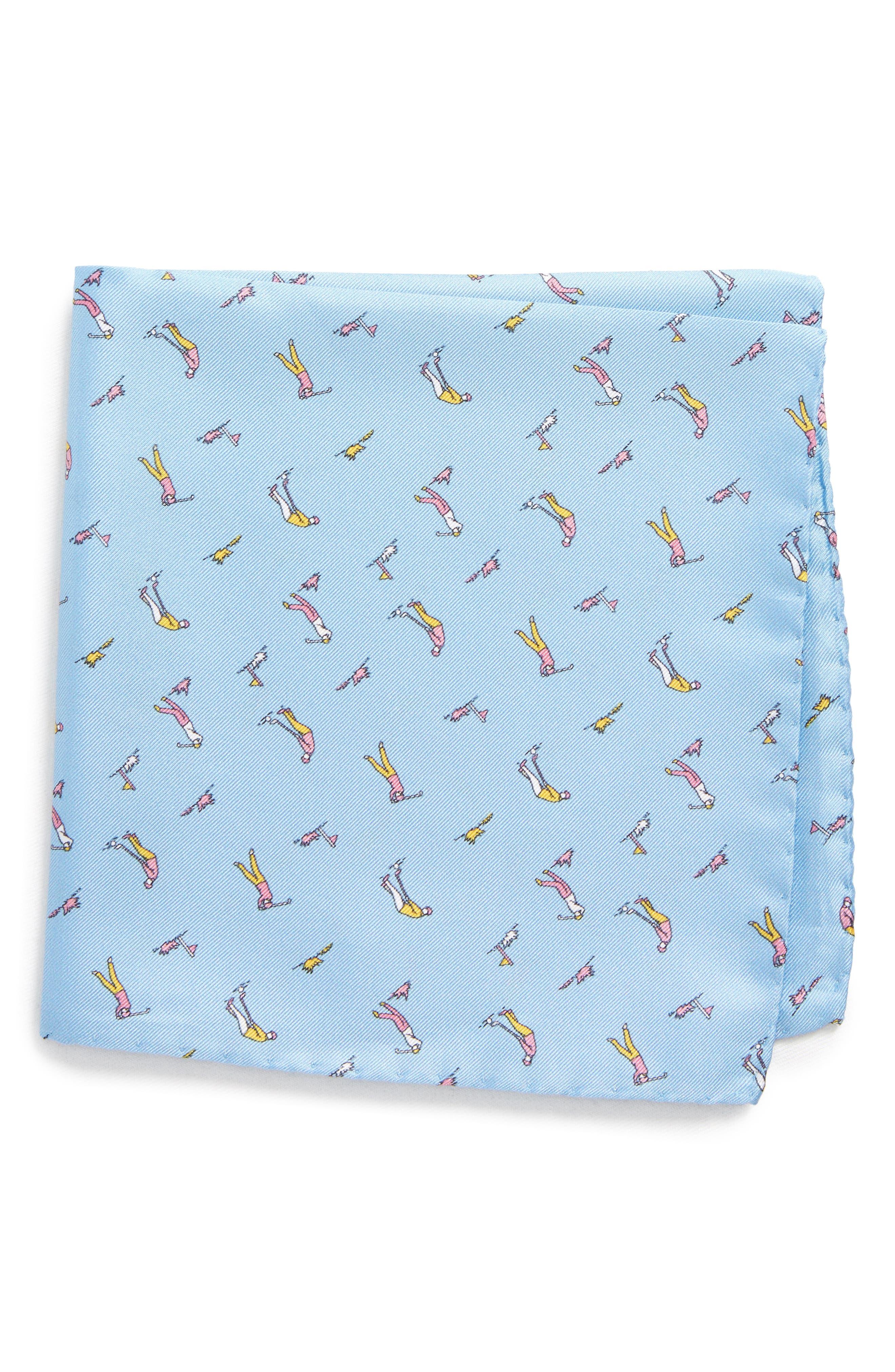 Foreplay Silk Pocket Square,                         Main,                         color, LIGHT BLUE