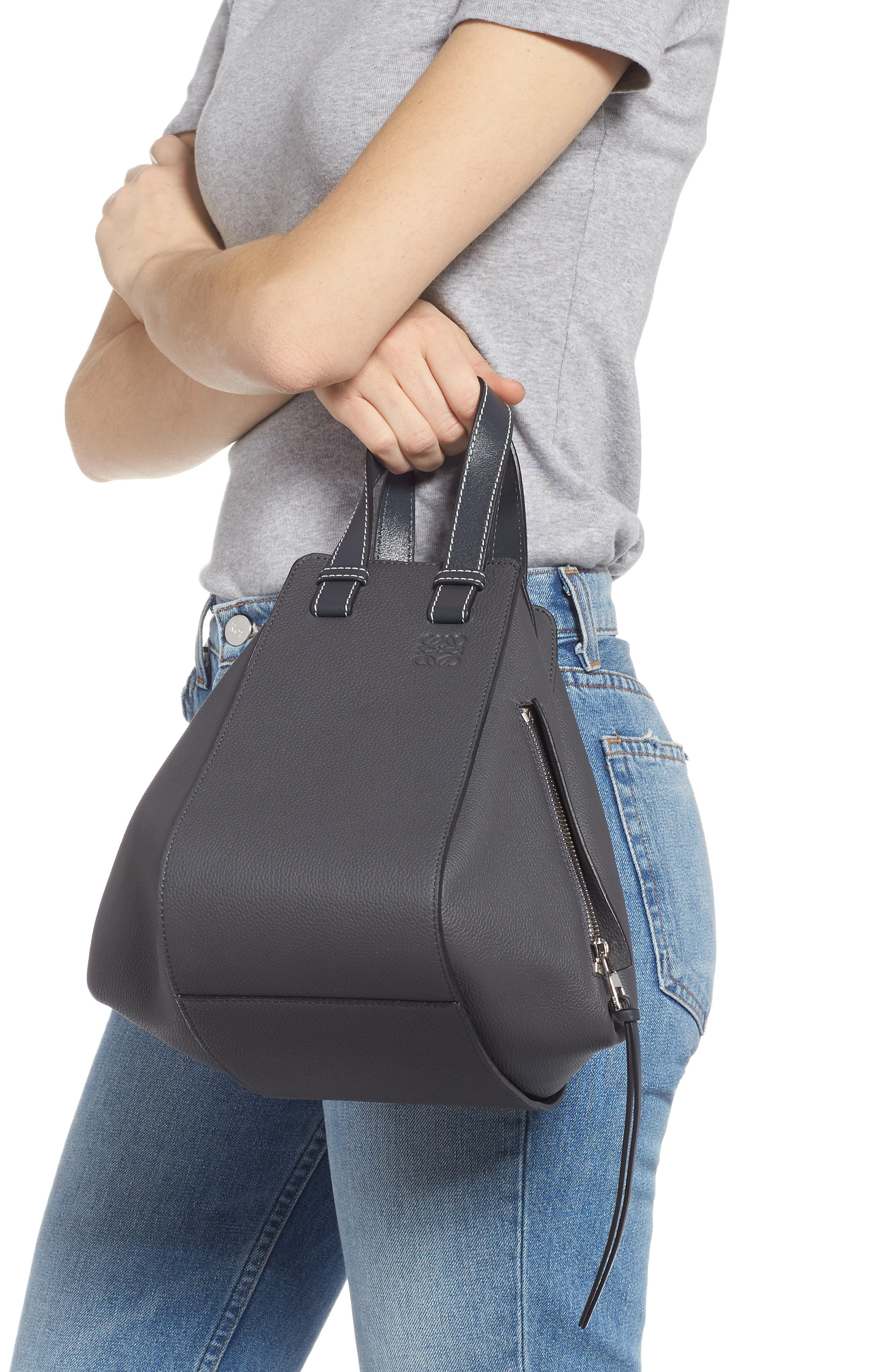 LOEWE,                             Small Hammock Pebbled Leather Hobo,                             Alternate thumbnail 3, color,                             ANTHRACITE
