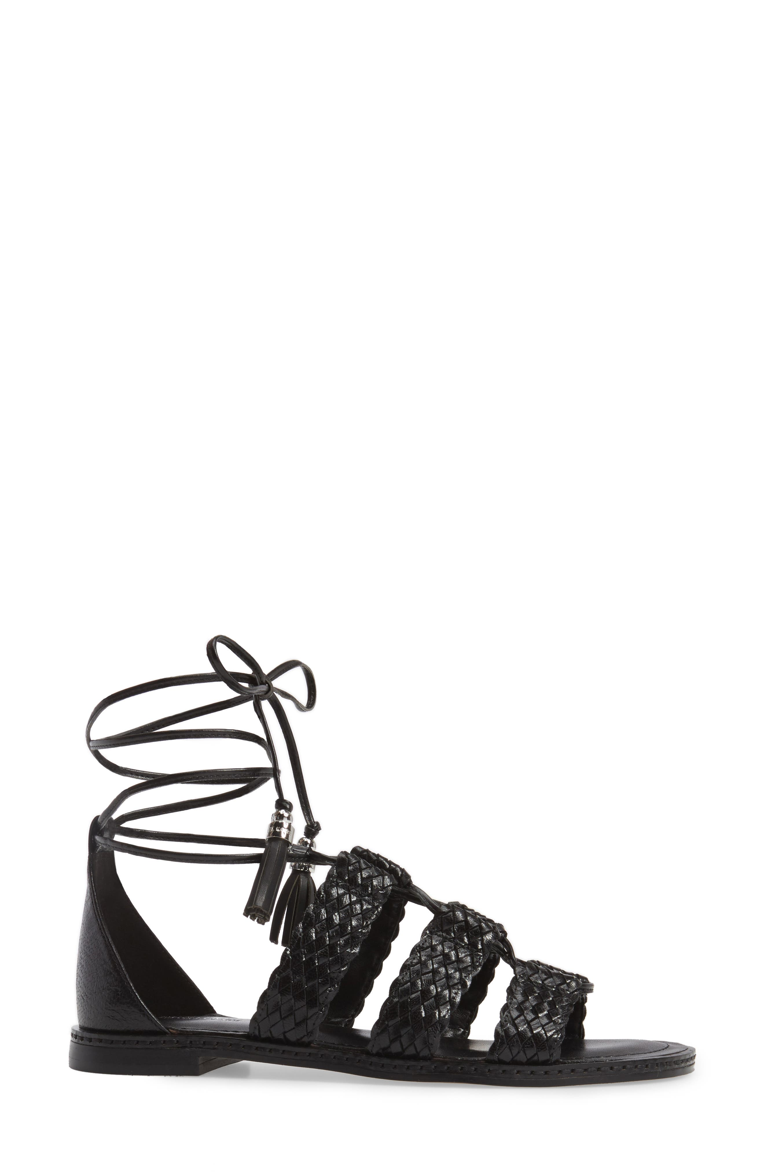 Monterey Lace-Up Gladiator Sandal,                             Alternate thumbnail 3, color,                             001