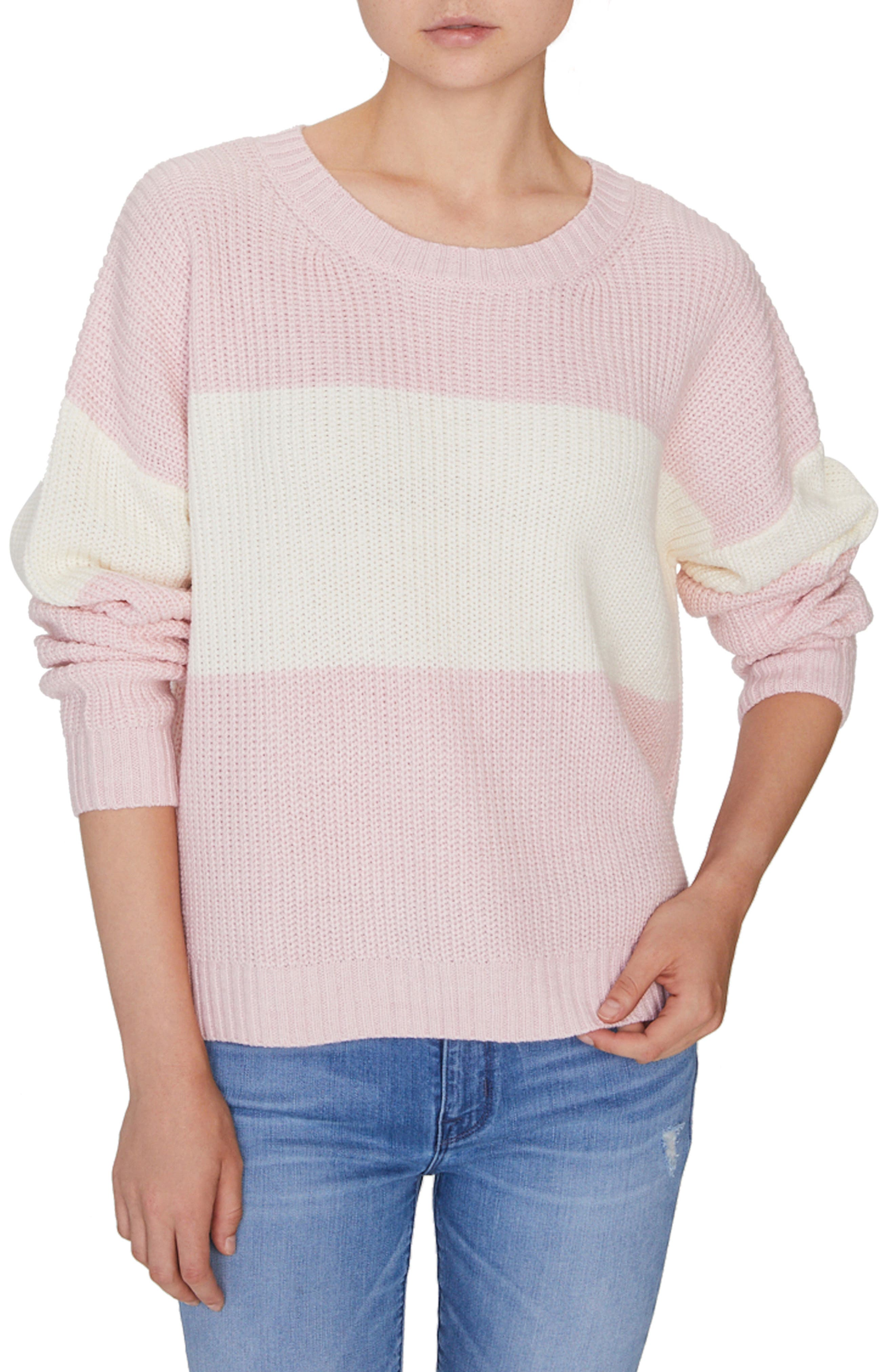 SANCTUARY Billie Colorblock Shaker Sweater, Main, color, HEATHER CHERRYBLOSSOM/ NATURAL