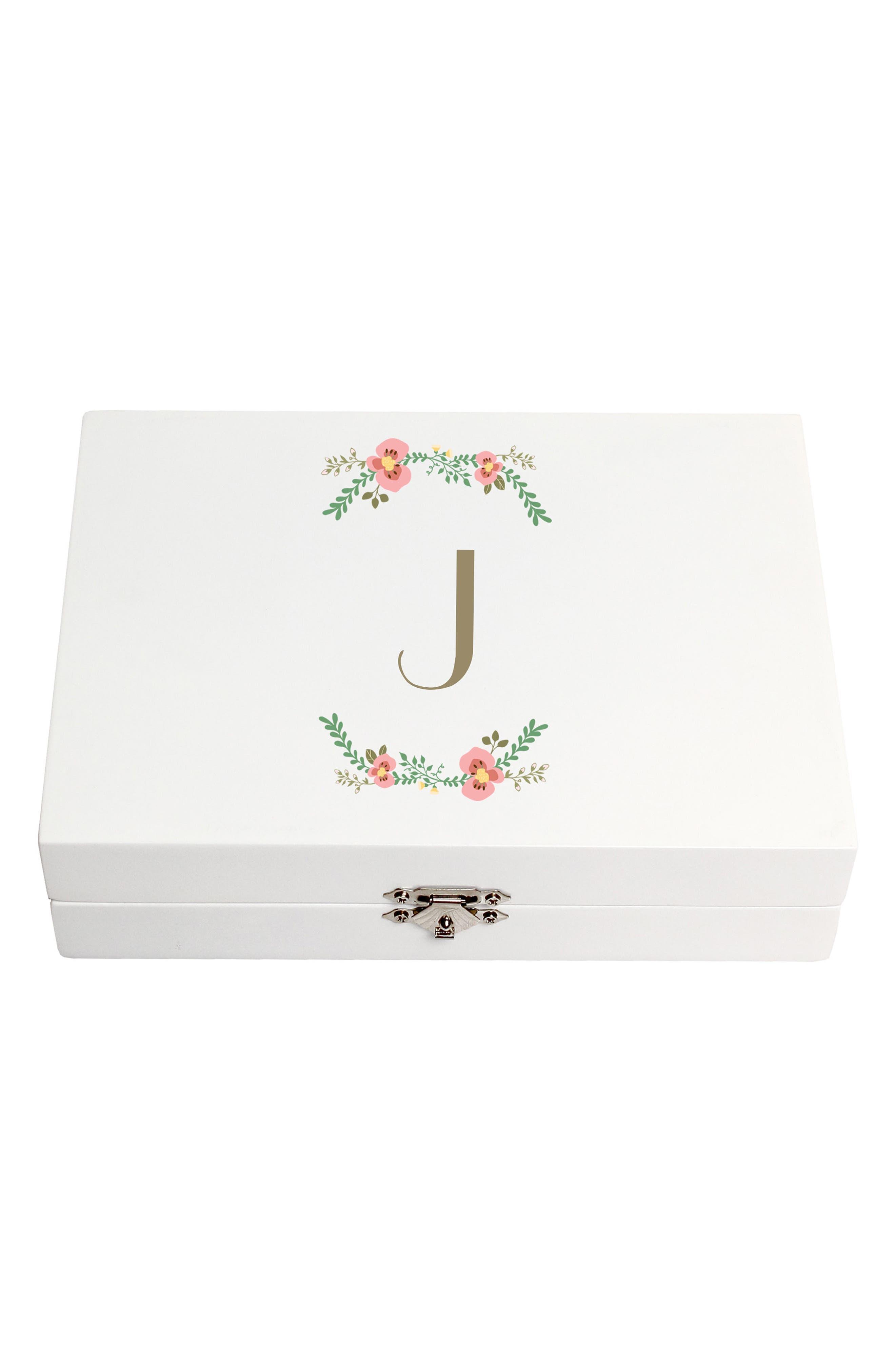 Monogram Floral Wedding Ring Box,                             Main thumbnail 10, color,