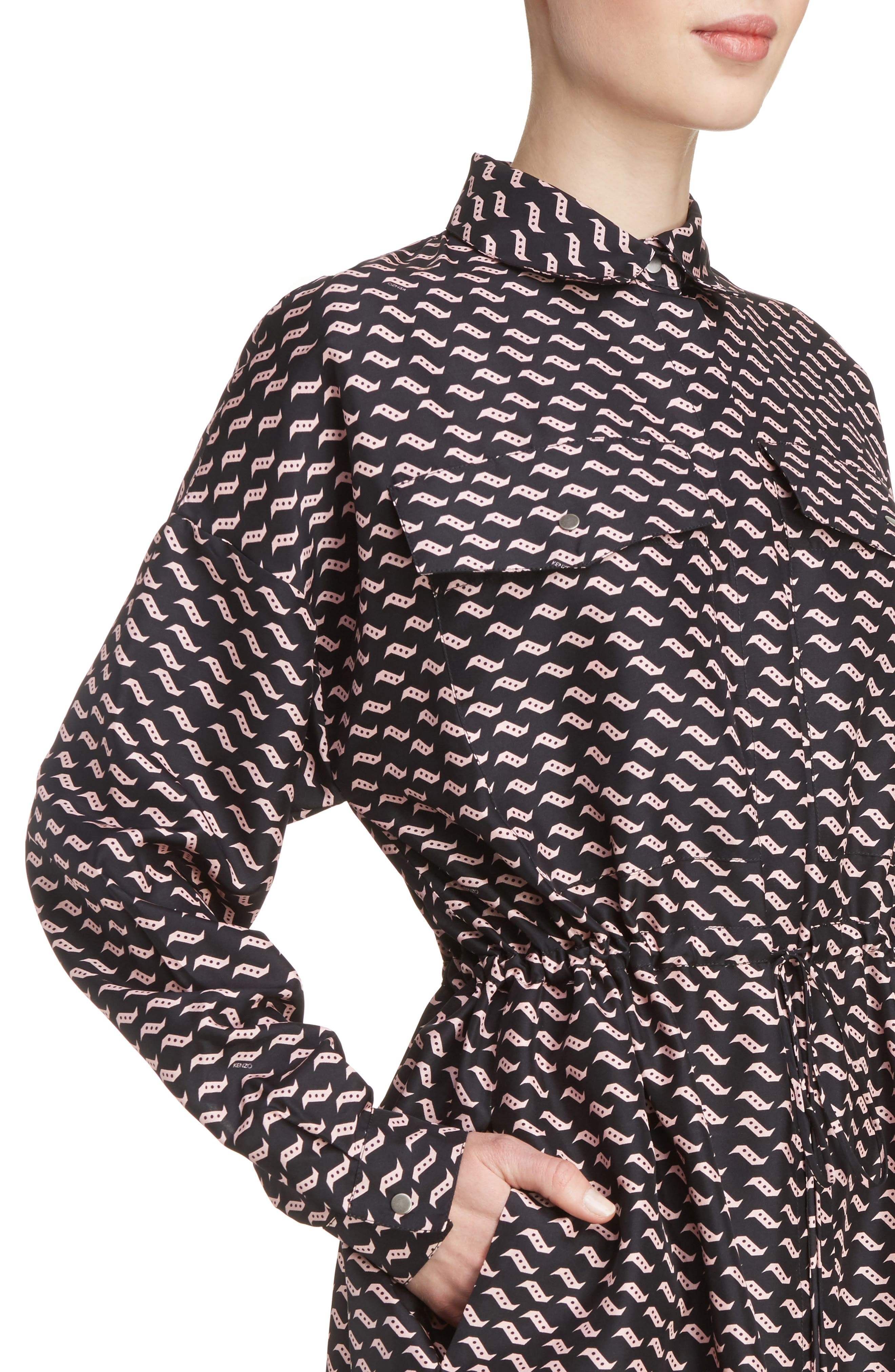 Print Silk Shirtdress,                             Alternate thumbnail 4, color,                             001
