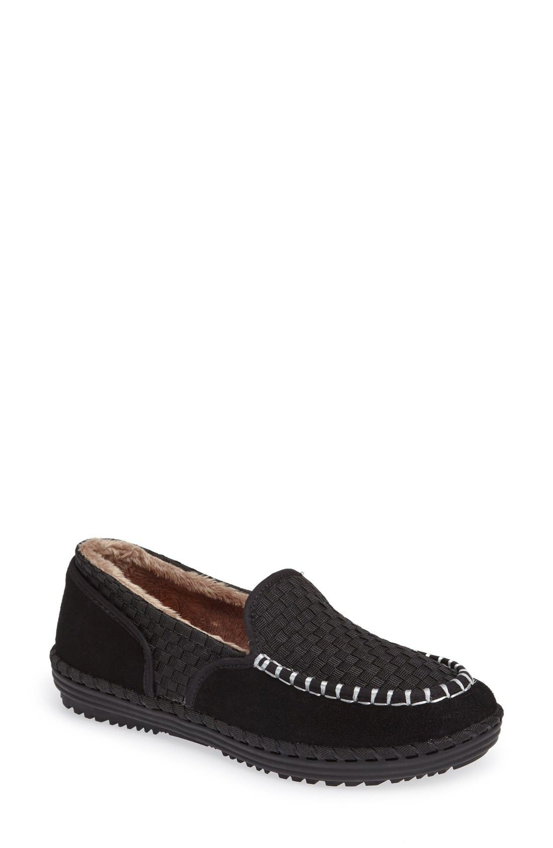 Faux Fur Lined Loafer Slipper,                             Main thumbnail 1, color,                             001