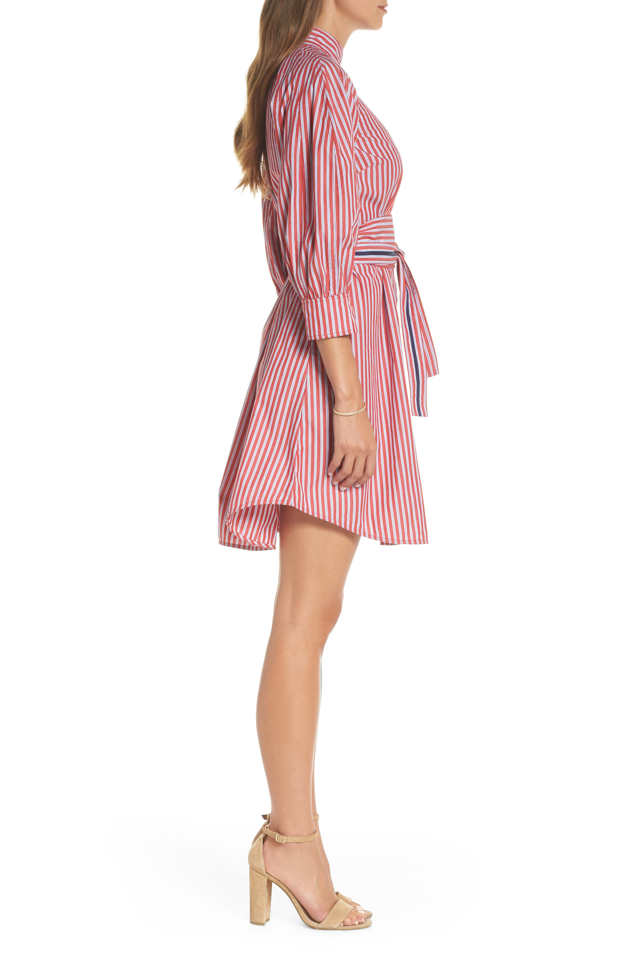 Stripe Tie Waist Shirtdress,                             Alternate thumbnail 3, color,                             600