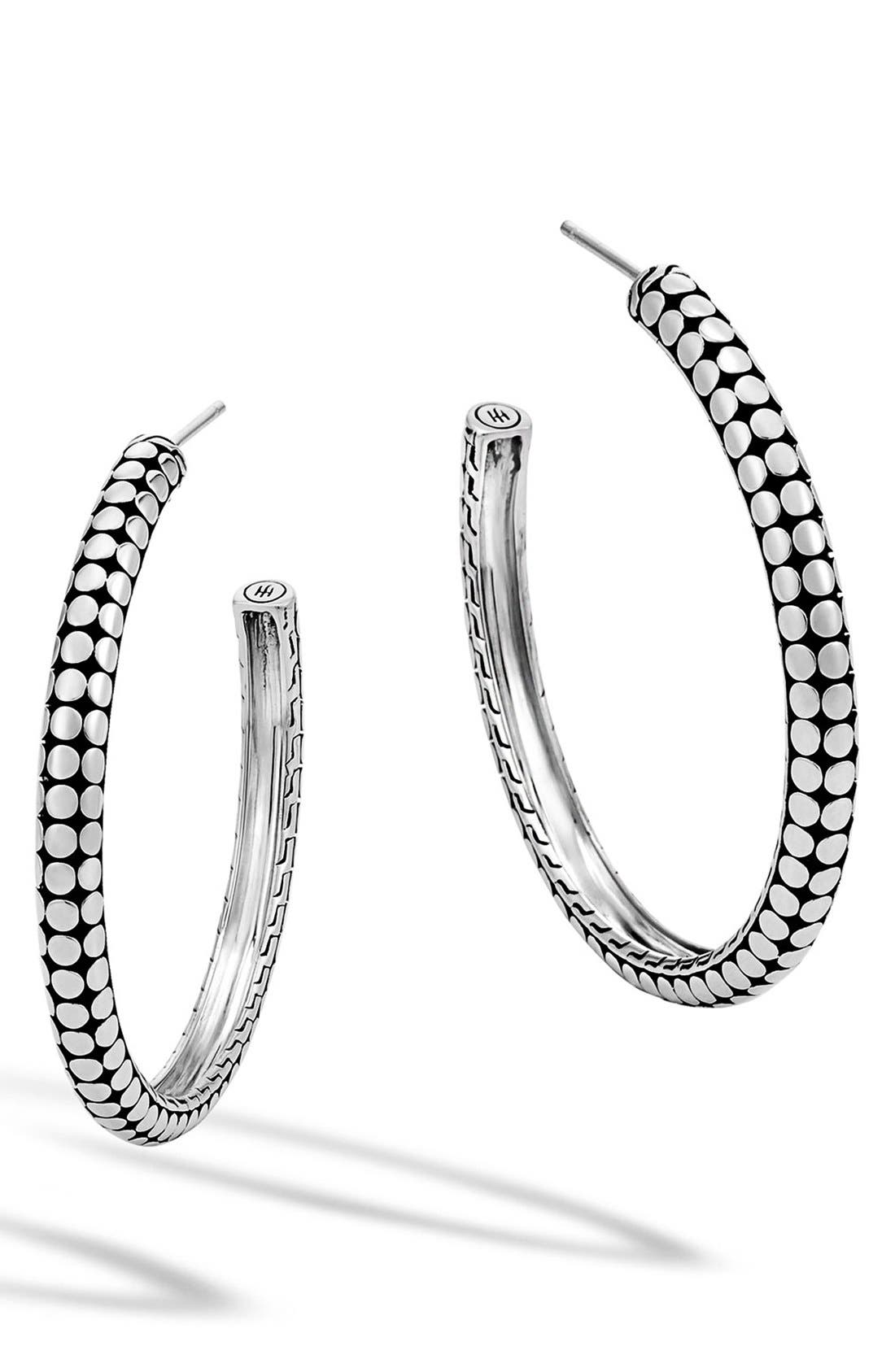 'Dot' Hoop Earrings,                             Main thumbnail 1, color,                             SILVER