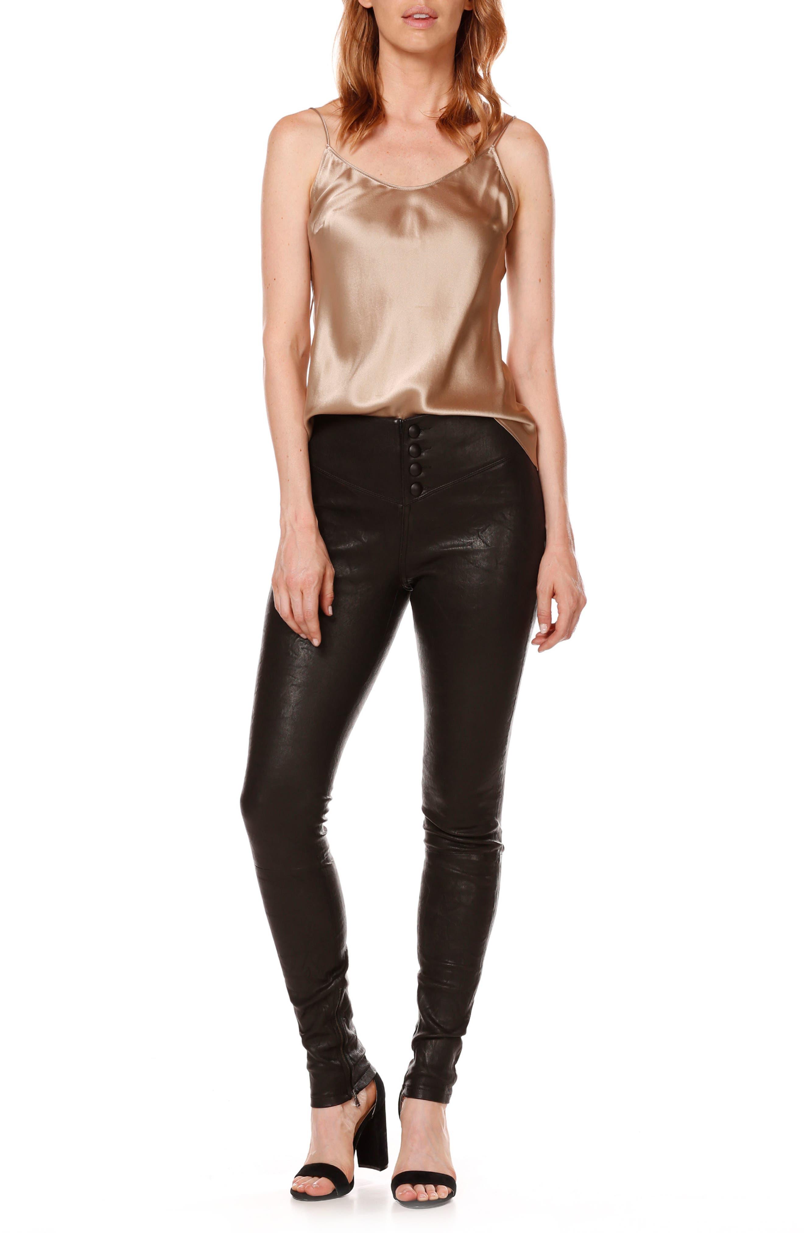 Rosie HW x PAIGE Ellery Ankle Zip Leather Pants,                             Alternate thumbnail 3, color,                             001