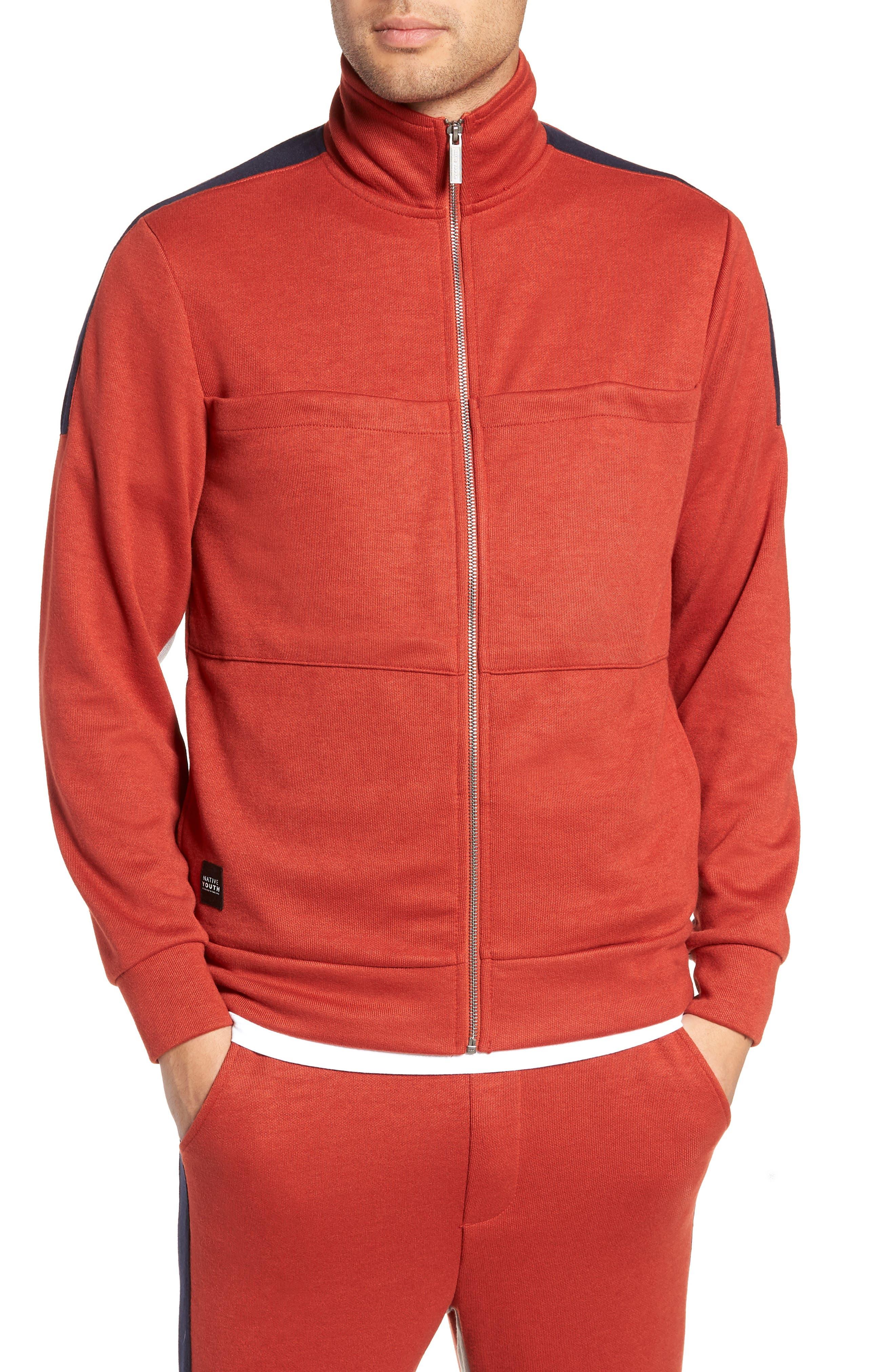 Colorblock Track Jacket,                         Main,                         color, RUST