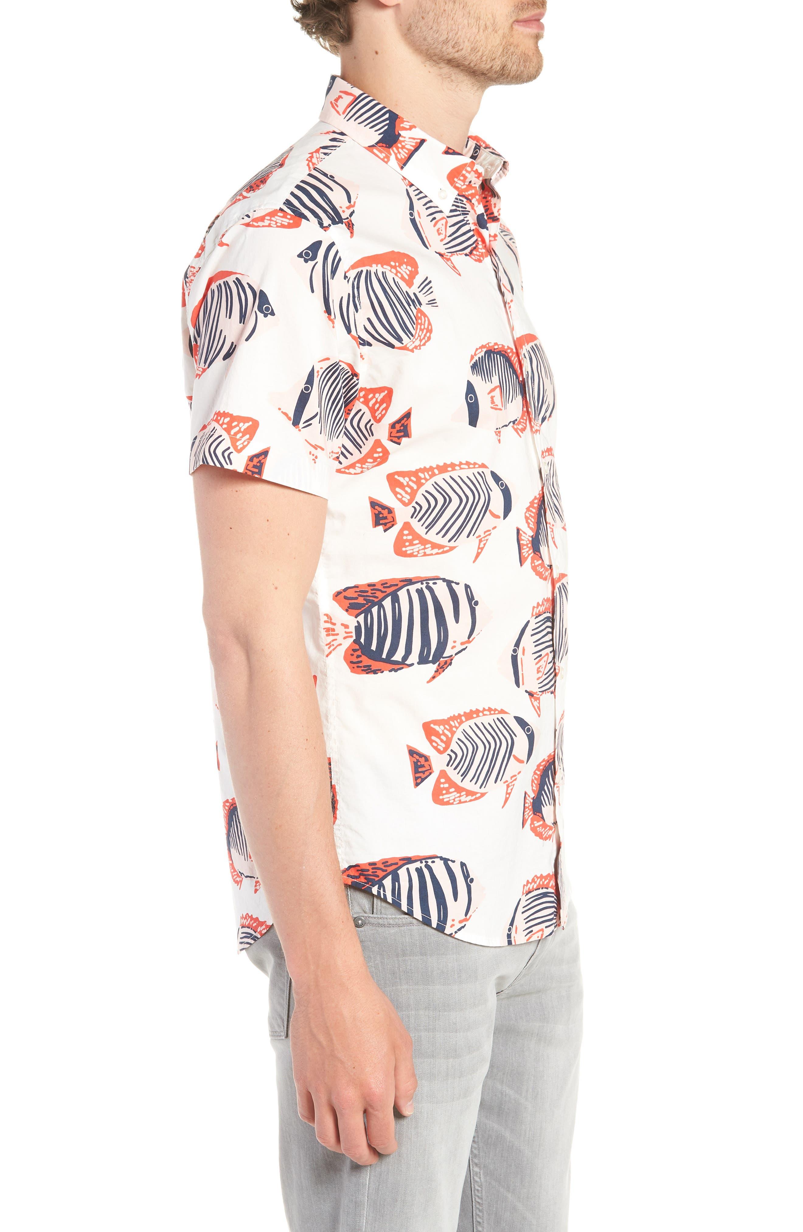 Riviera Slim Fit Fish Print Sport Shirt,                             Alternate thumbnail 4, color,                             100