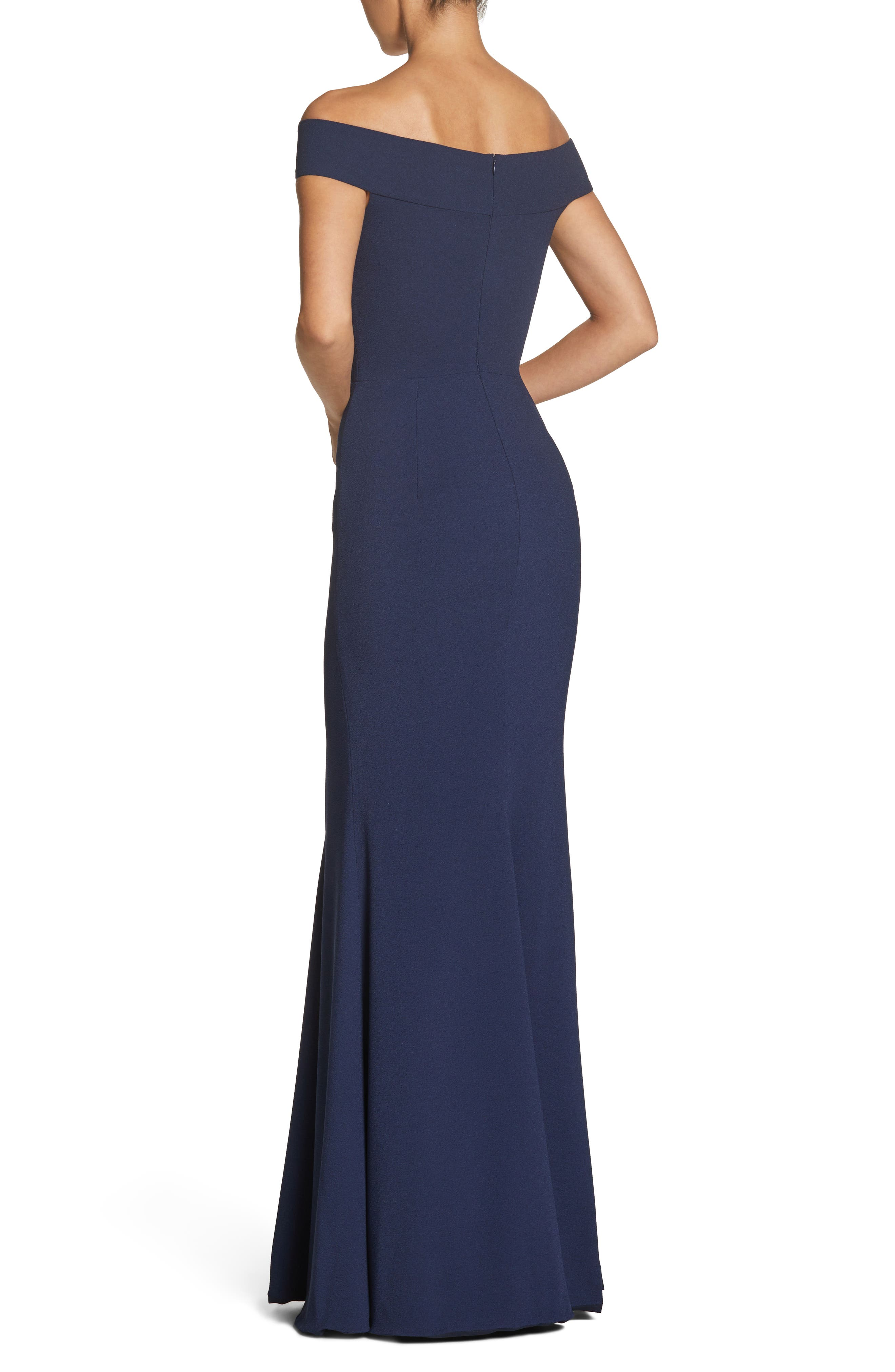 Jackie Off the Shoulder Crepe Trumpet Gown,                             Alternate thumbnail 2, color,                             NAVY