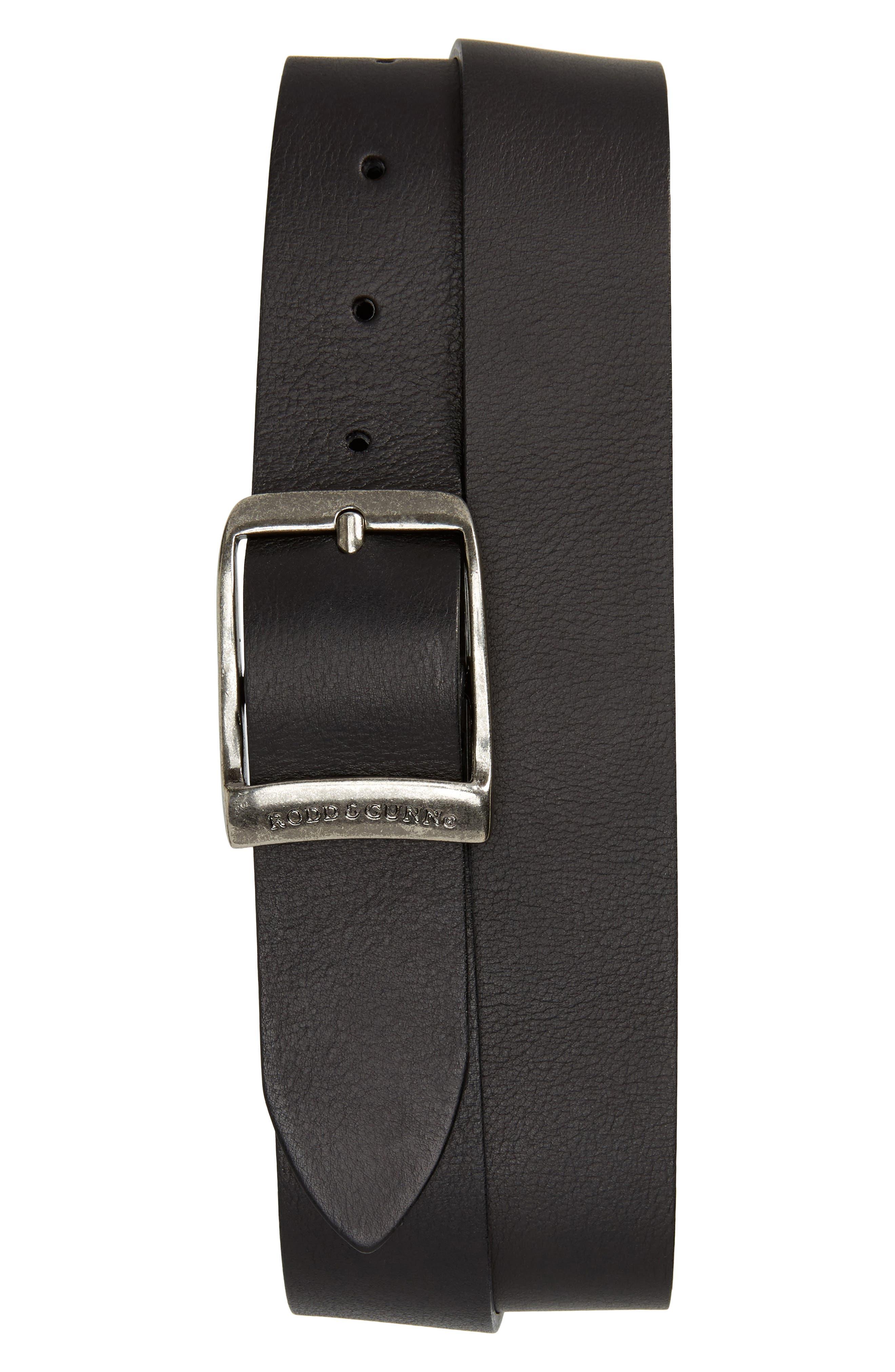Rodd & Gunn Cornonet Crescent Leather Belt, Nero