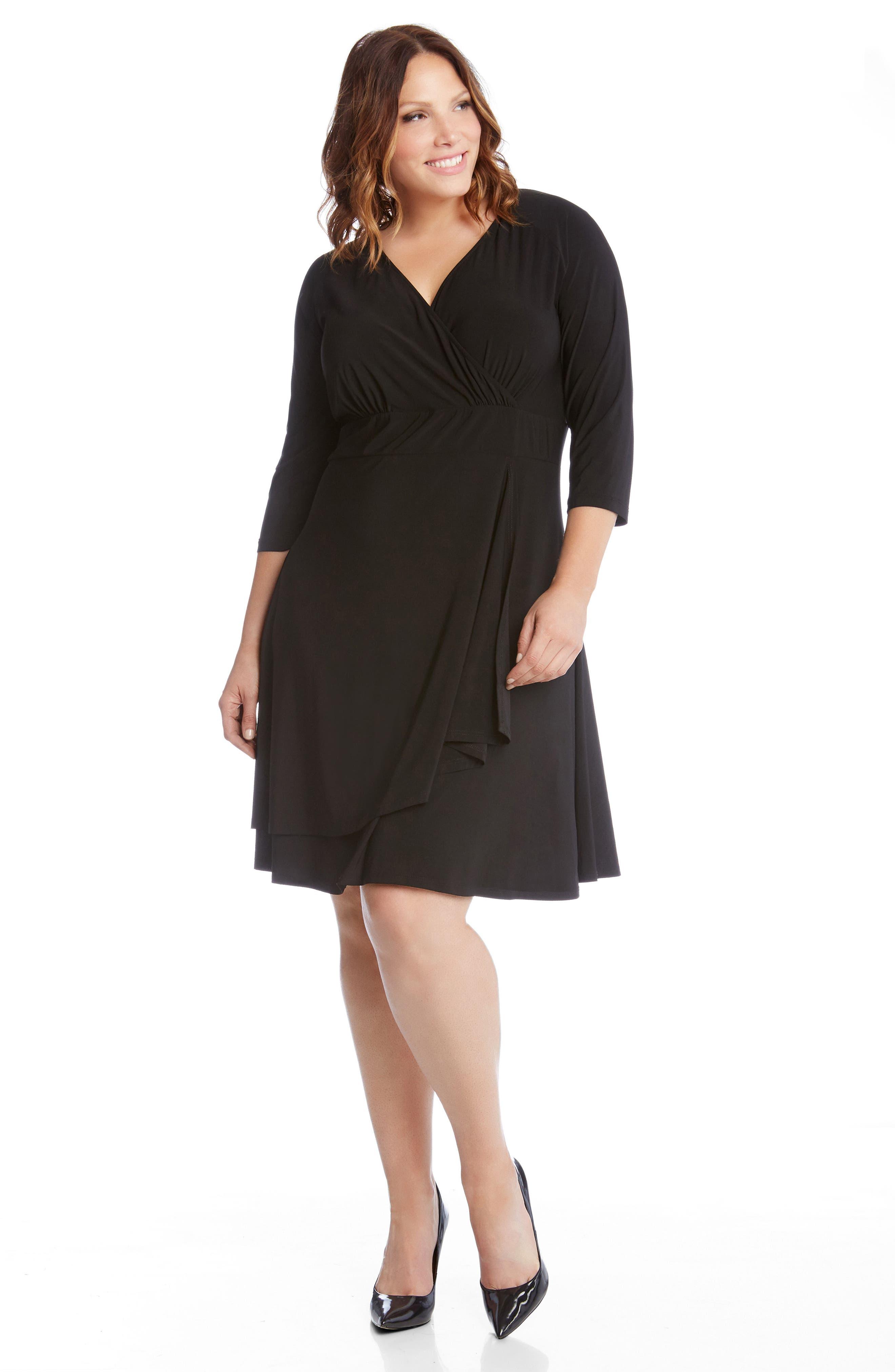 Jersey Cascade Faux Wrap Dress,                             Alternate thumbnail 5, color,                             001