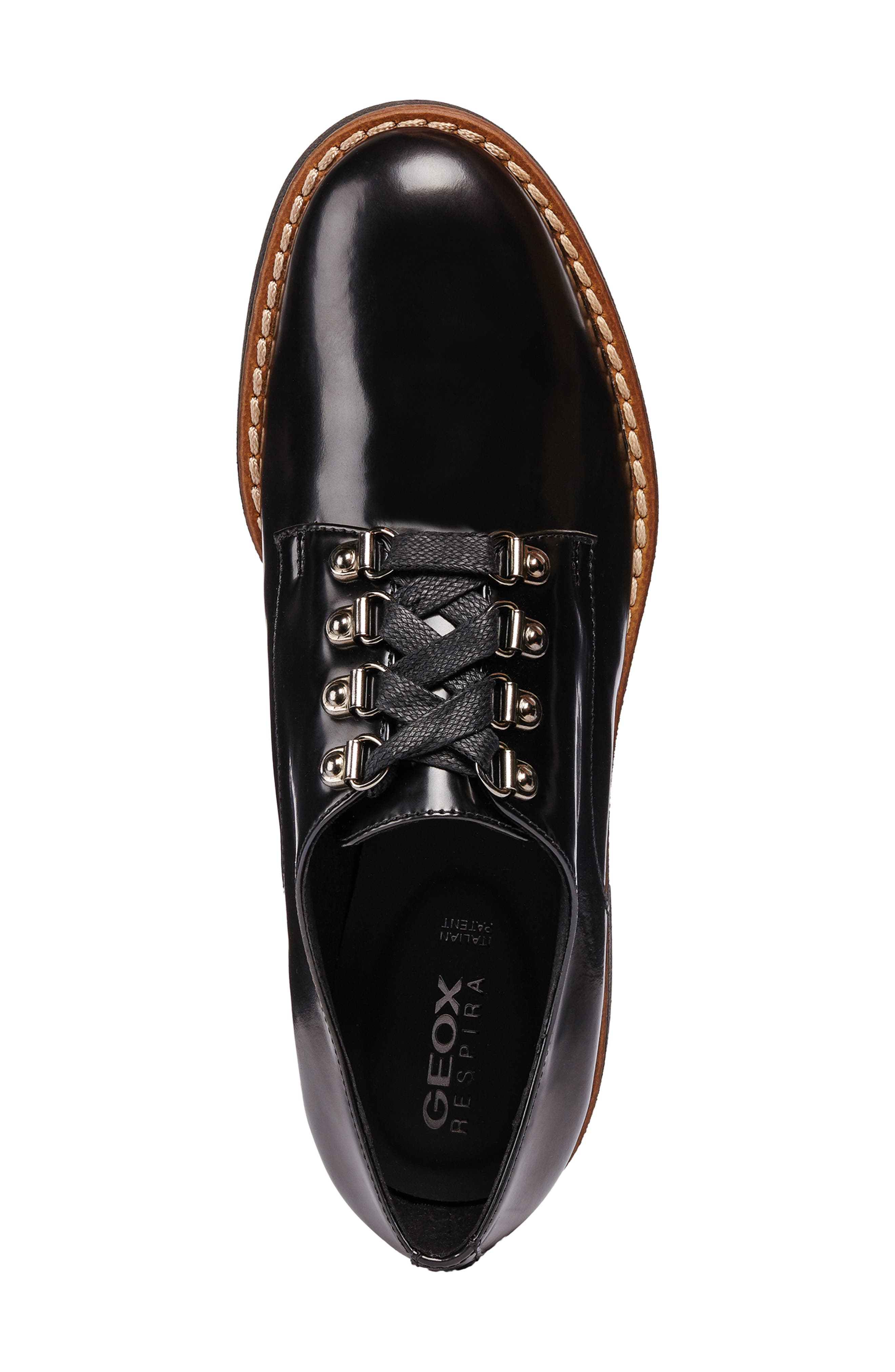 Adrya Oxford,                             Alternate thumbnail 4, color,                             BLACK/ BEIGE LEATHER