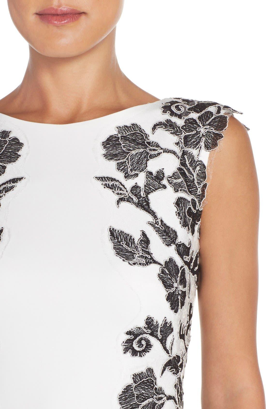 Embroidered Neoprene Sheath Dress,                             Alternate thumbnail 16, color,
