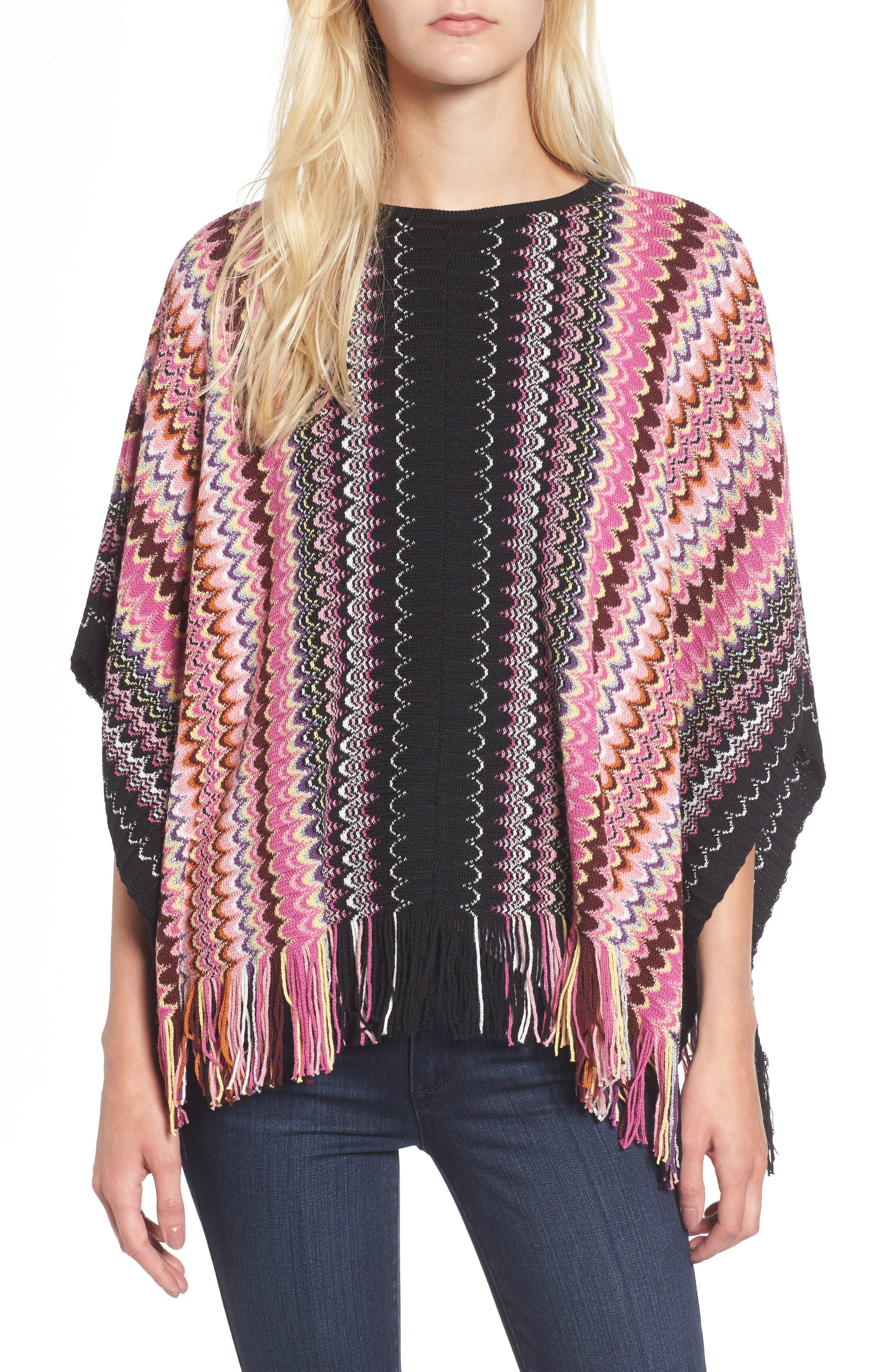 Stripe Poncho,                         Main,                         color, 018