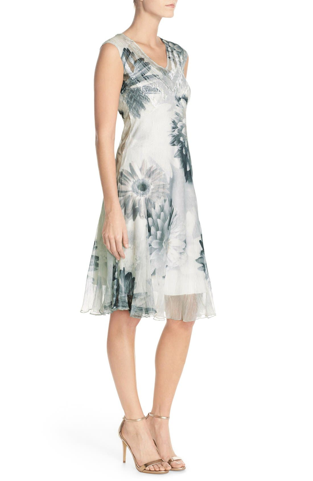 Floral Print Chiffon A-Line Dress,                             Alternate thumbnail 5, color,                             408