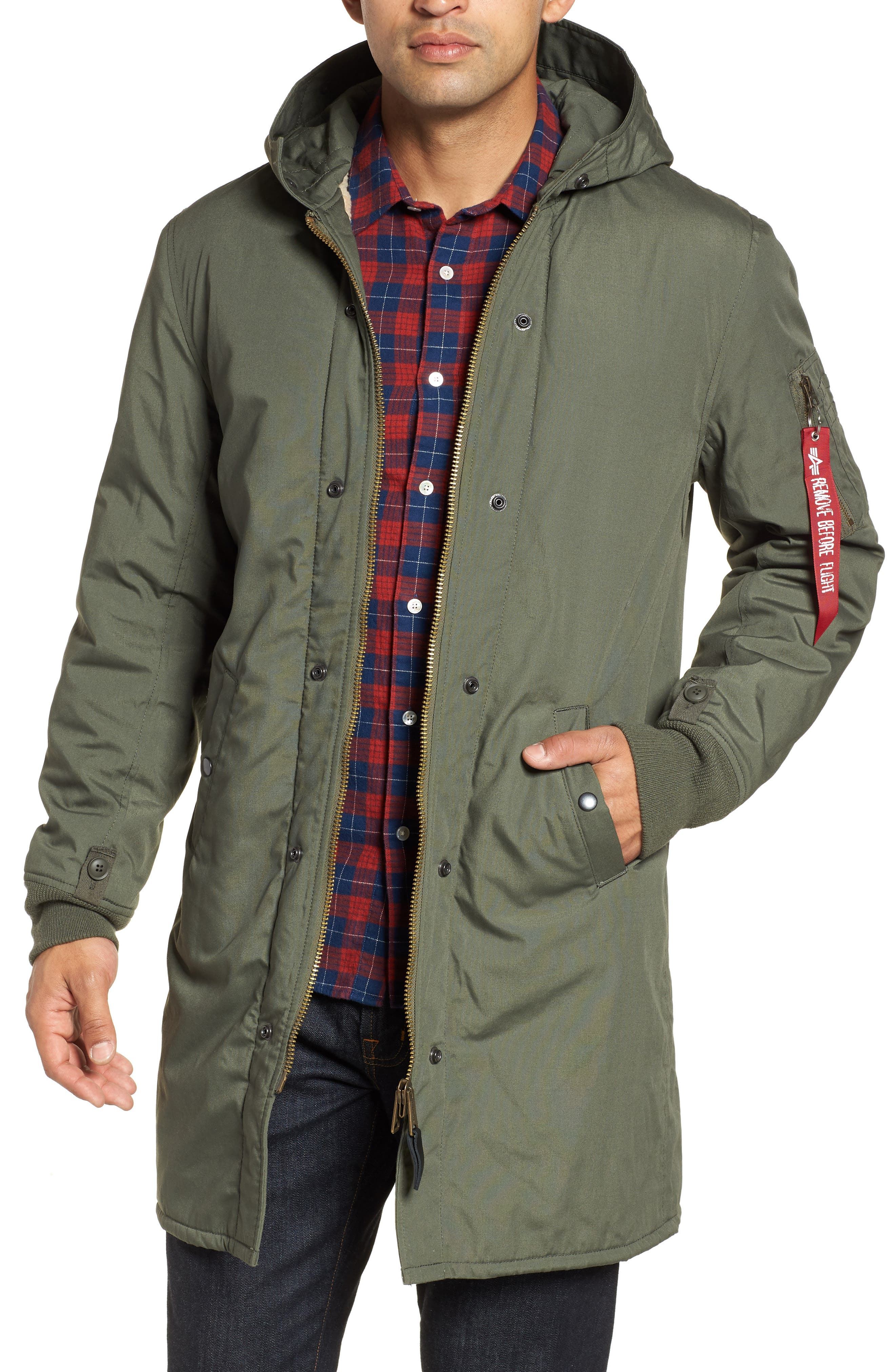 M-47 Faux Shearling Reversible Jacket,                         Main,                         color, M-65 OLIVE