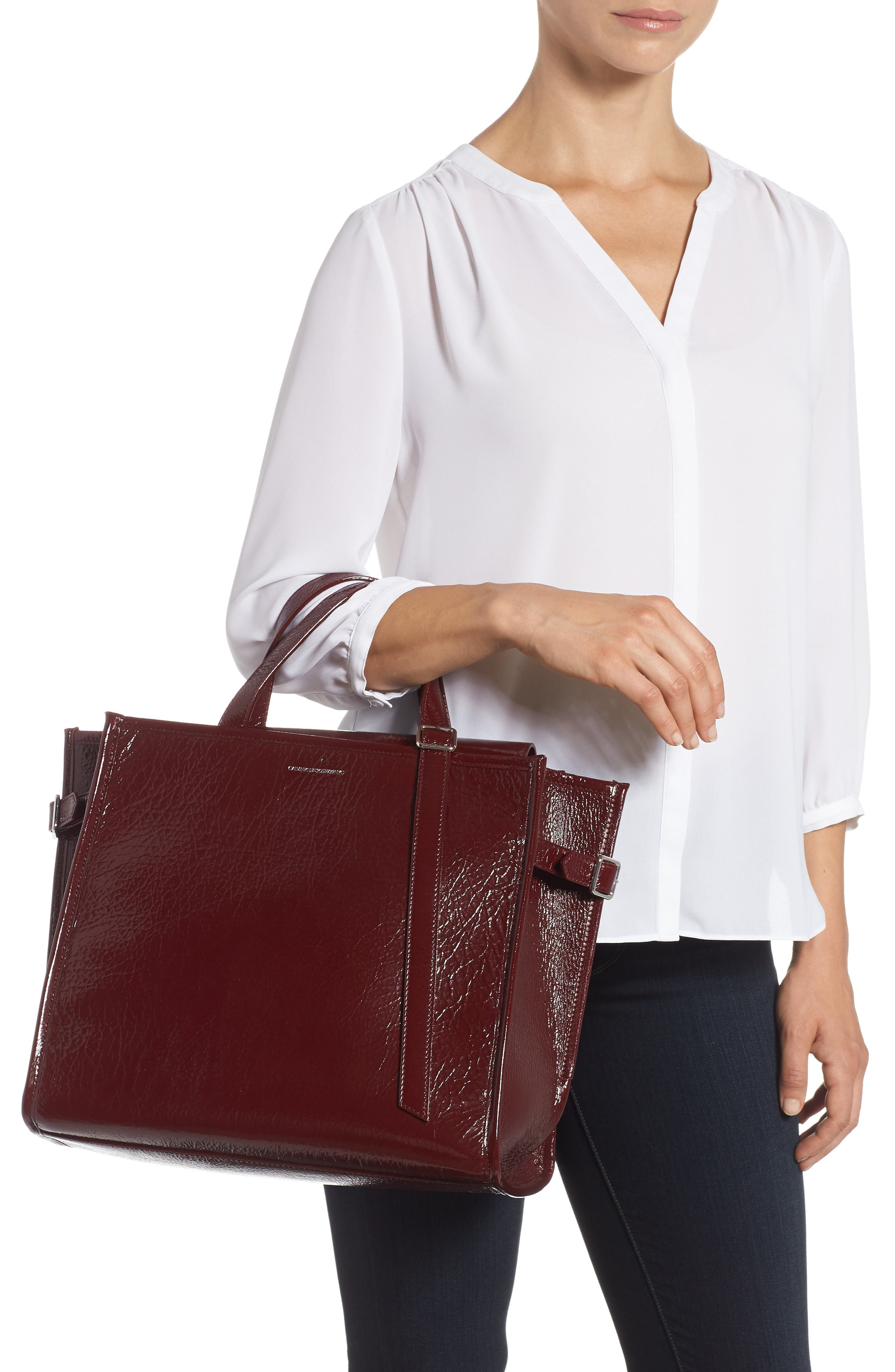 CALVIN KLEIN 209W39NYC East/West Leather Tote,                             Alternate thumbnail 2, color,                             DARK BURGUNDY