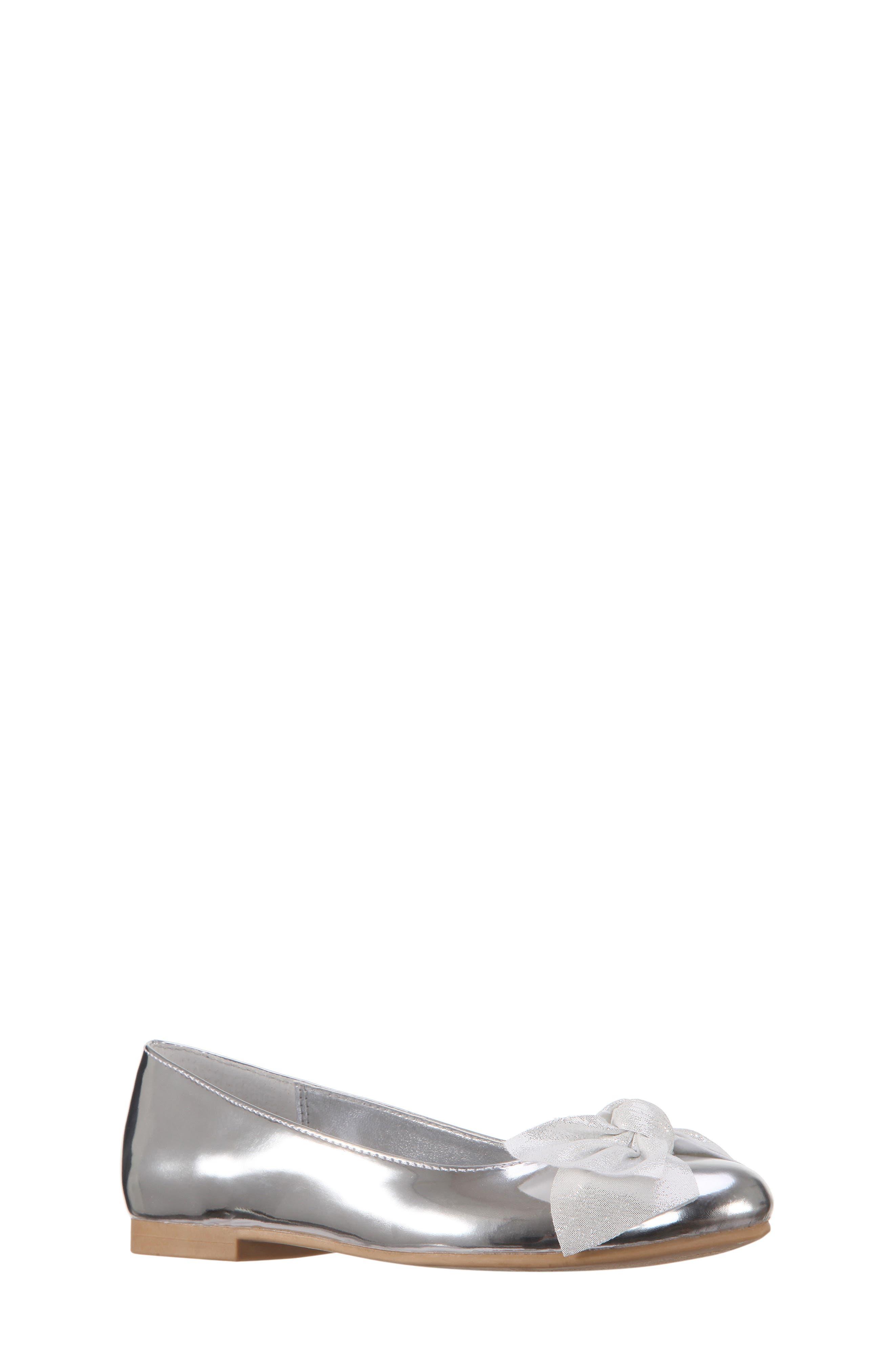Katelyn Glitter Bow Metallic Ballet Flat,                             Main thumbnail 1, color,                             048