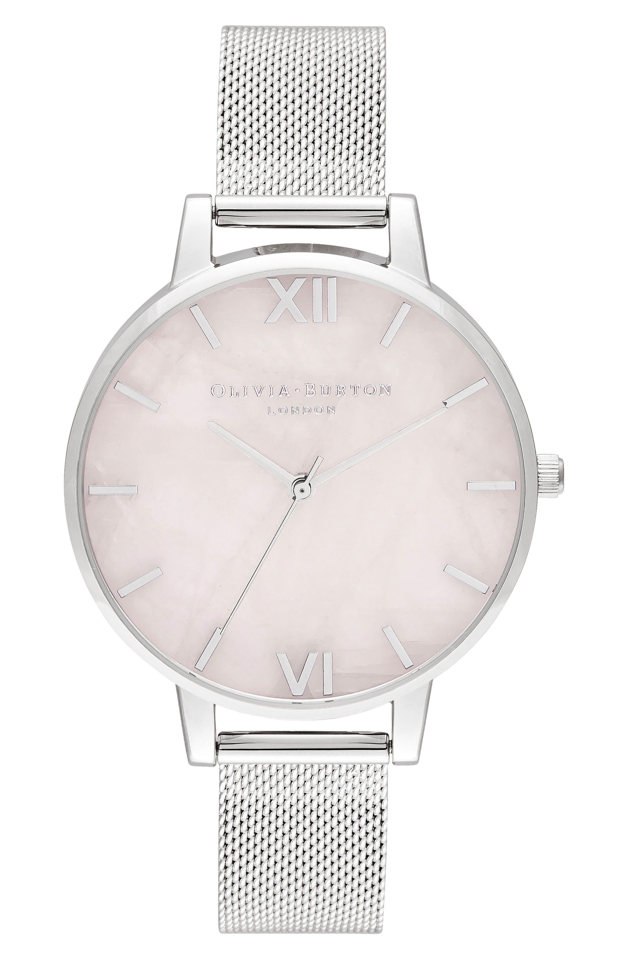 Bracelet Watch, 30mm,                             Main thumbnail 1, color,                             SILVER/ ROSE QUARTZ/ SILVER