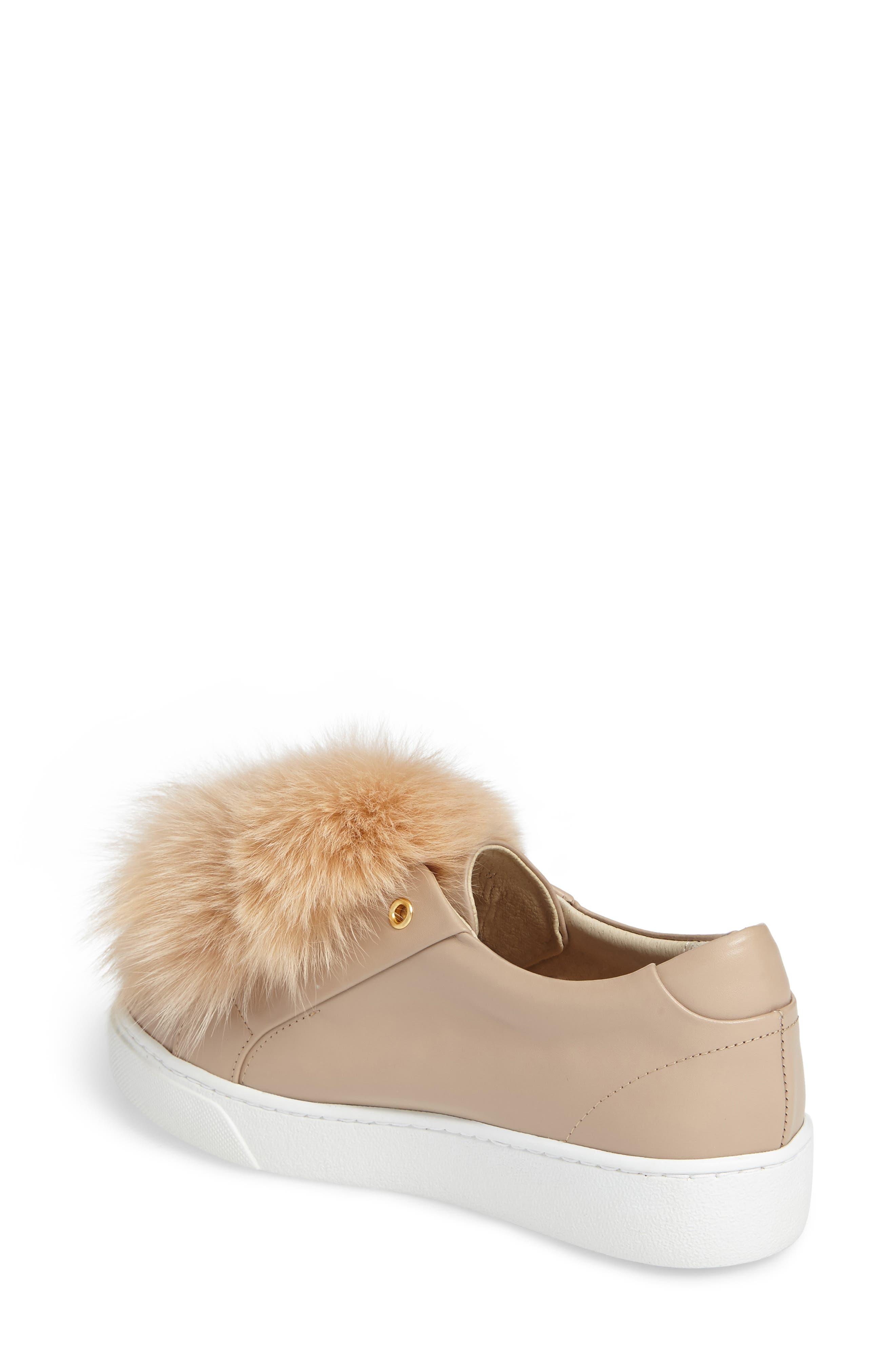 Arian Genuine Fox Fur Trim Sneaker,                             Alternate thumbnail 2, color,                             250