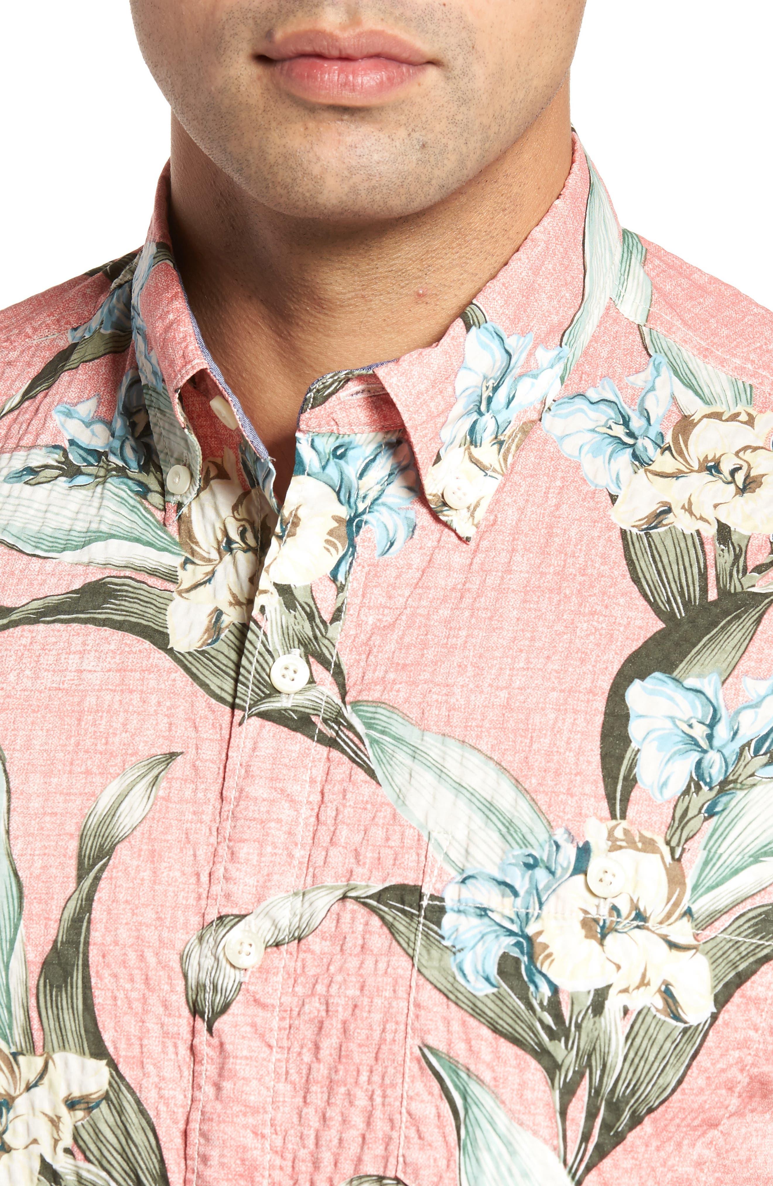 Cape Floral Seersucker Sport Shirt,                             Alternate thumbnail 4, color,