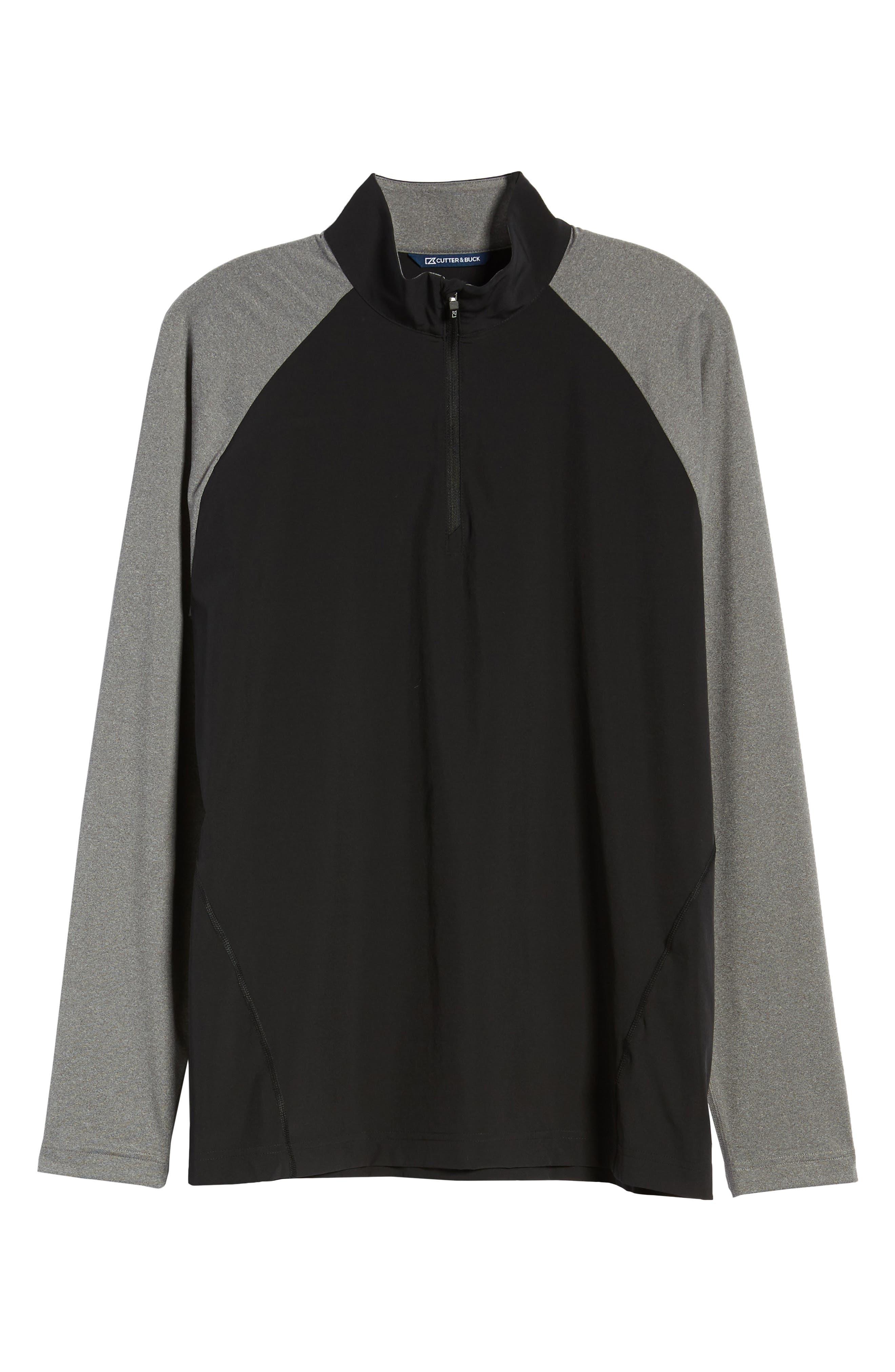 Response Hybrid Overknit Quarter Zip Pullover,                             Alternate thumbnail 6, color,                             BLACK