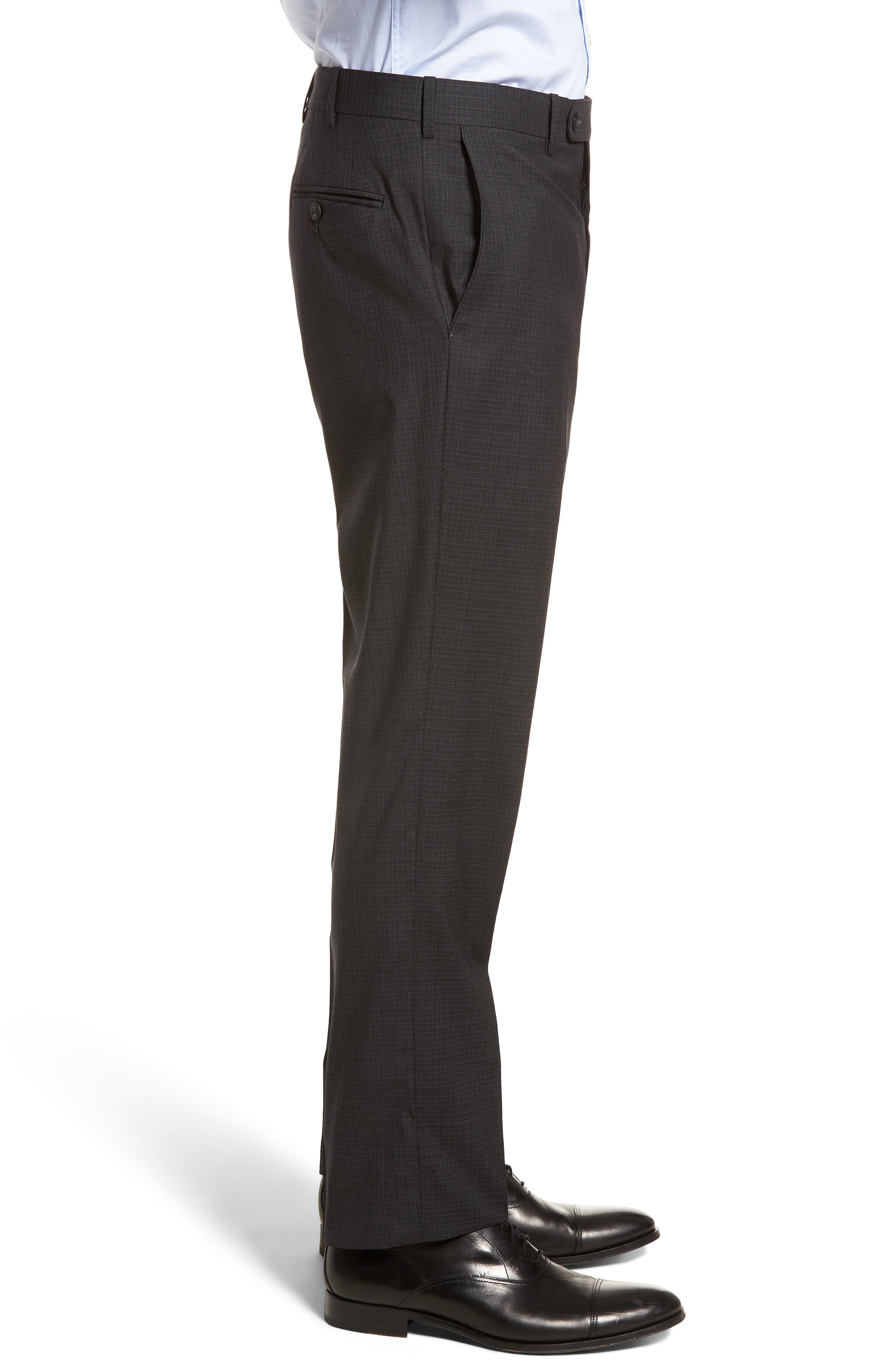 Flat Front Check Wool Trousers,                             Alternate thumbnail 8, color,