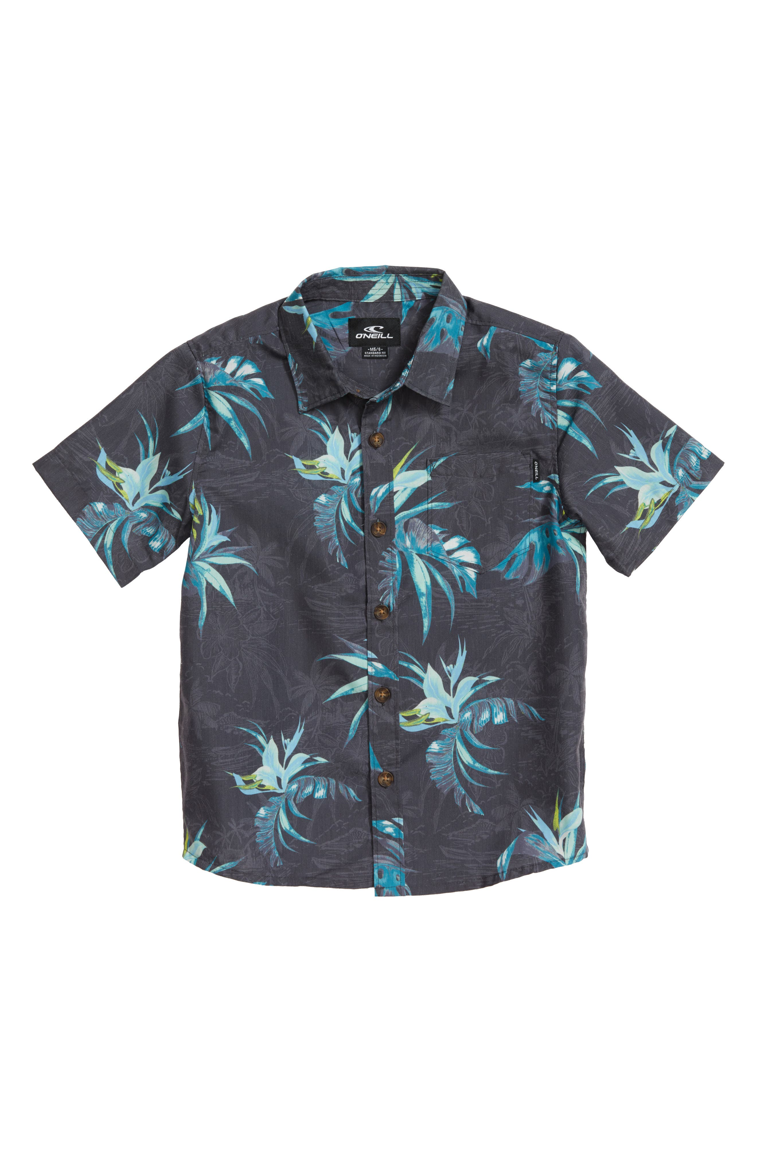 Islander Floral Print Woven Shirt,                             Main thumbnail 2, color,