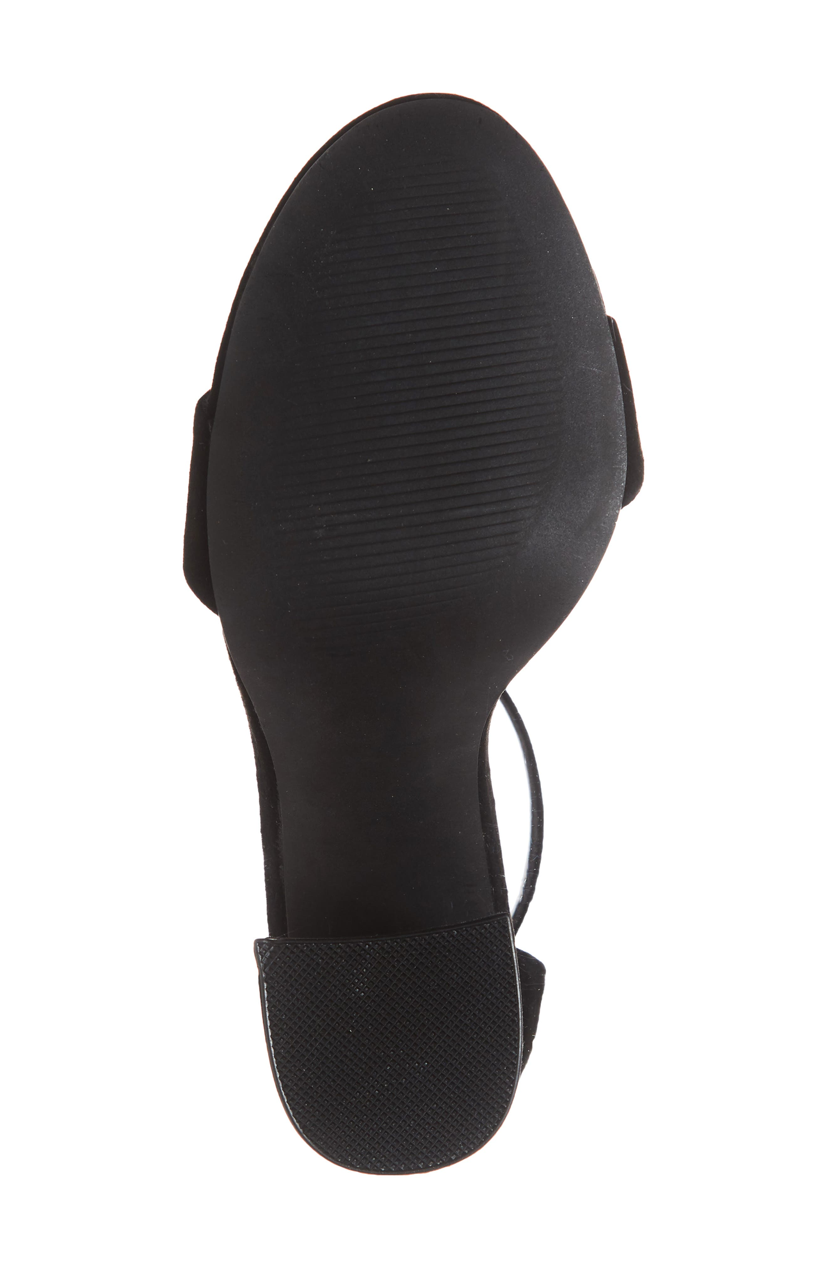 Joss Ankle Strap Sandal,                             Alternate thumbnail 6, color,                             BLACK SUEDE