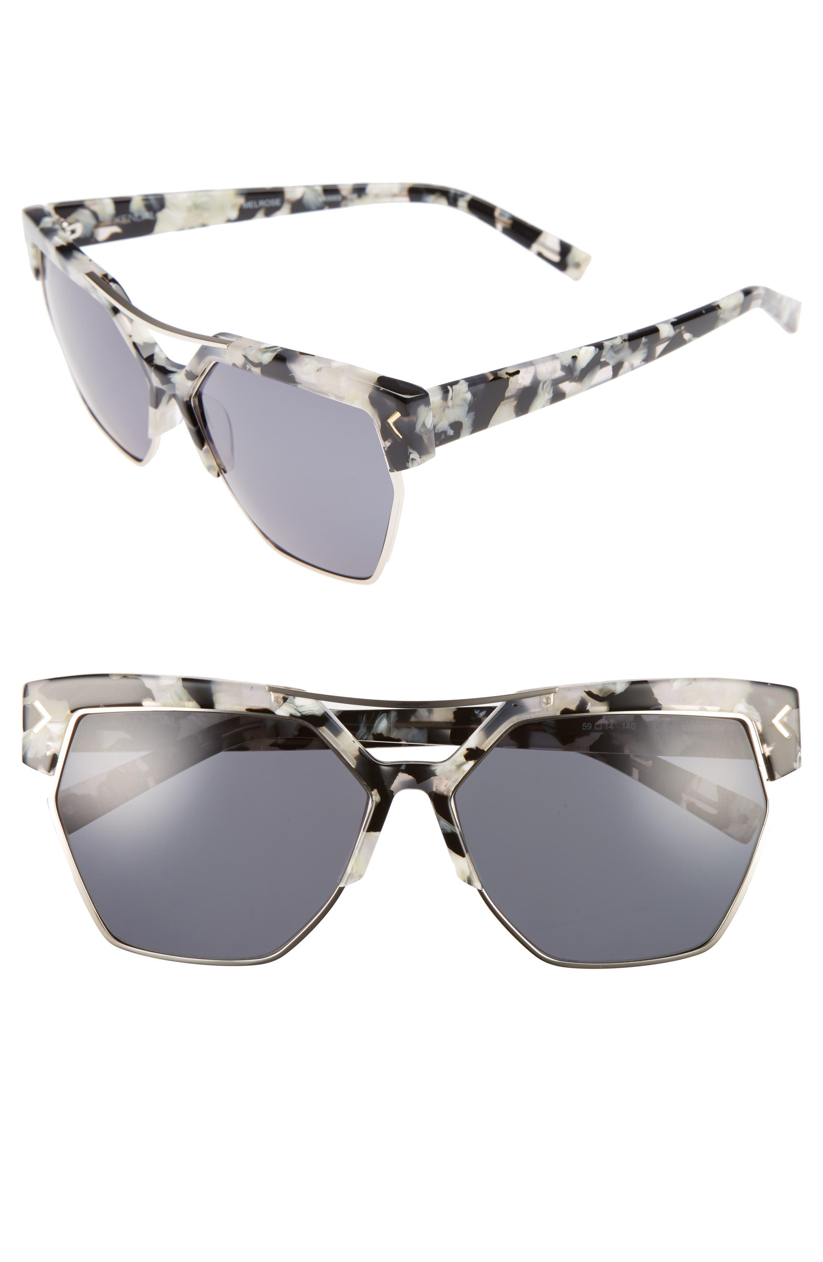 55mm Retro Sunglasses,                             Main thumbnail 1, color,