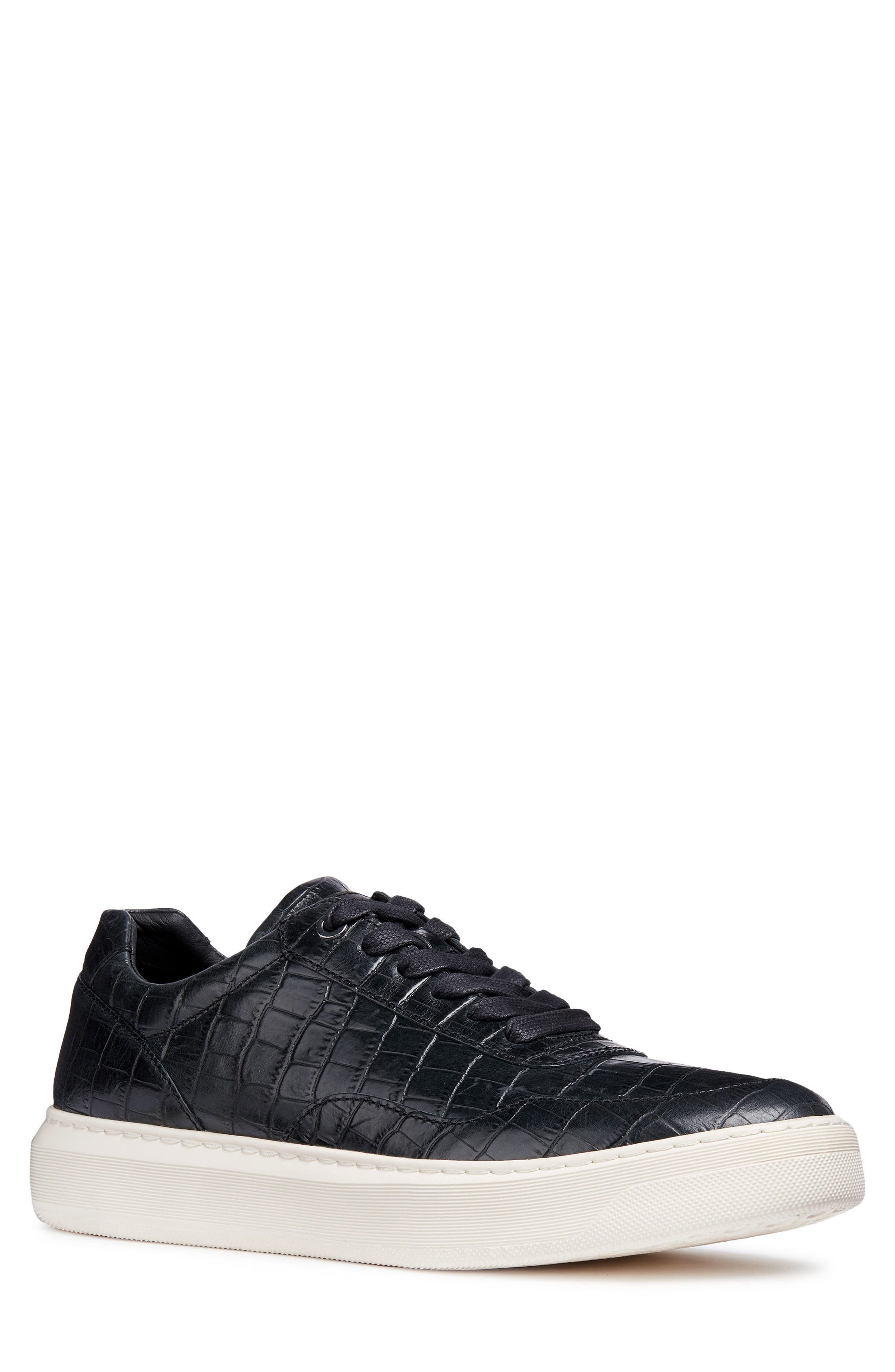 Geox Deiven 8 Croc Textured Low Top Sneaker, Black