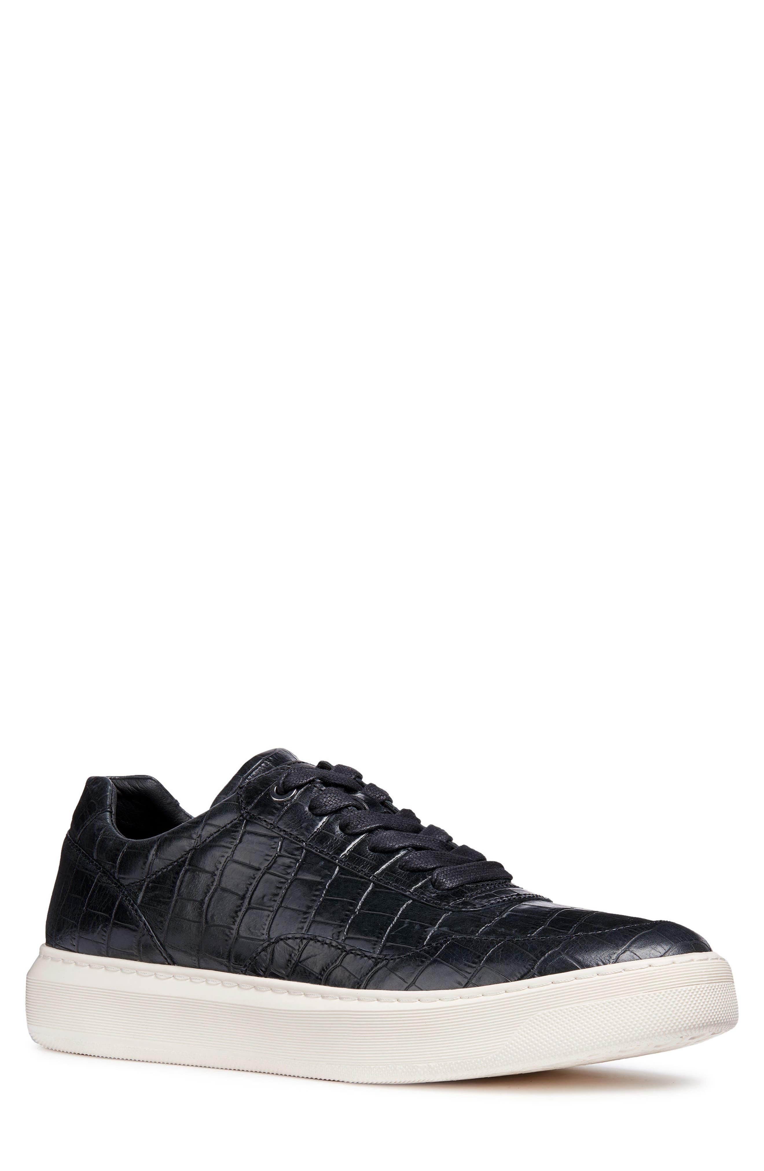 Deiven 8 Croc Textured Low Top Sneaker,                             Main thumbnail 1, color,                             BLACK LEATHER