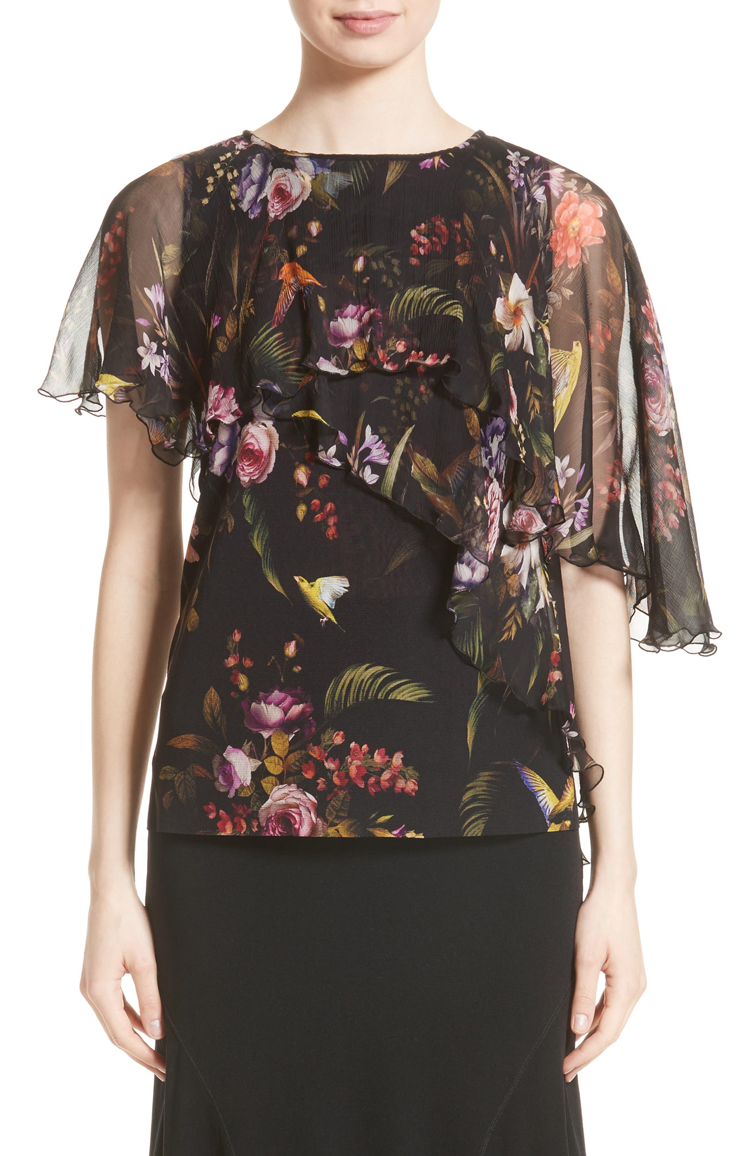 Asymmetrical Sleeve Tulle Top,                         Main,                         color,