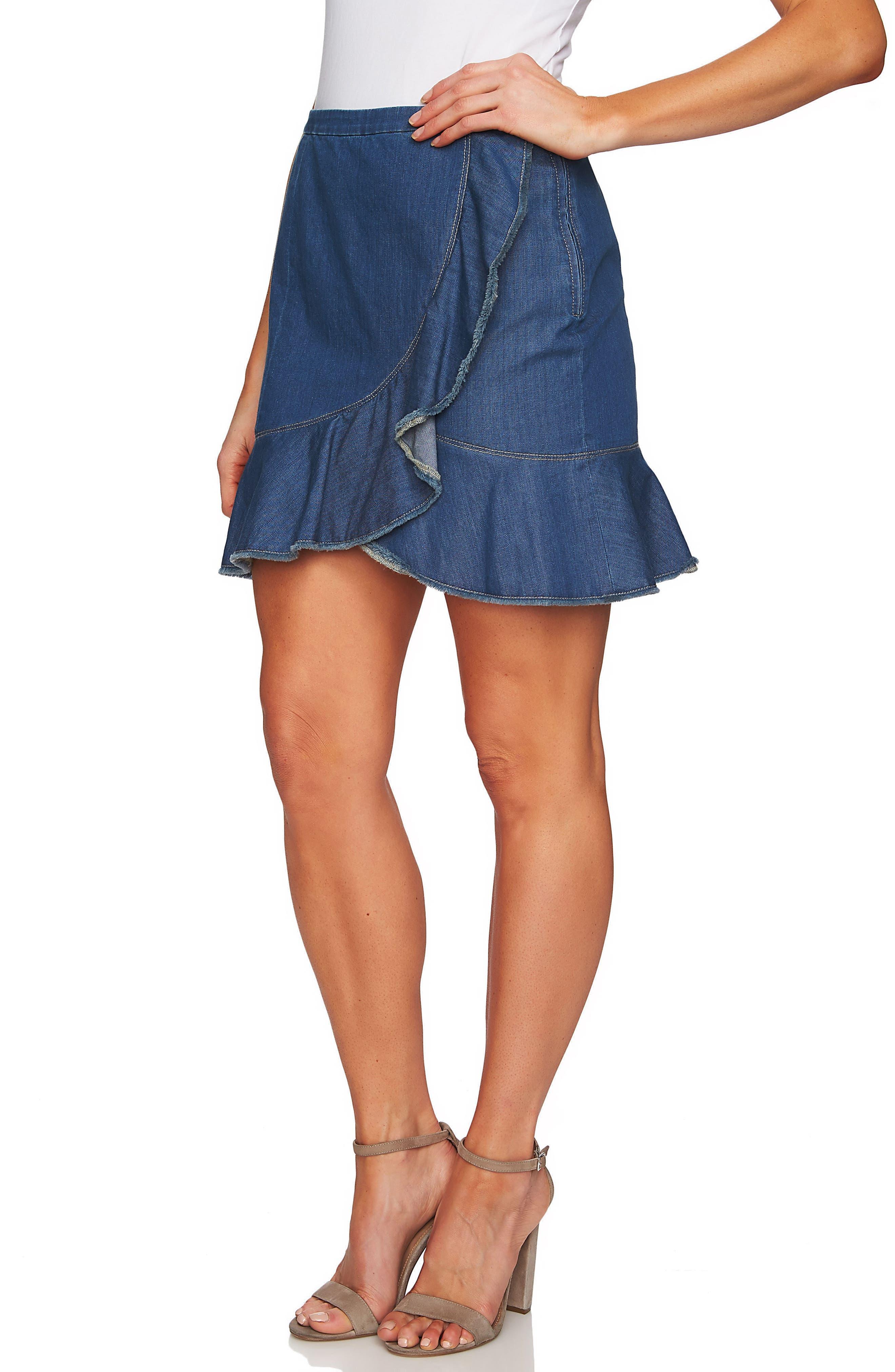 Cascading Ruffle Denim Skirt,                             Main thumbnail 1, color,                             422