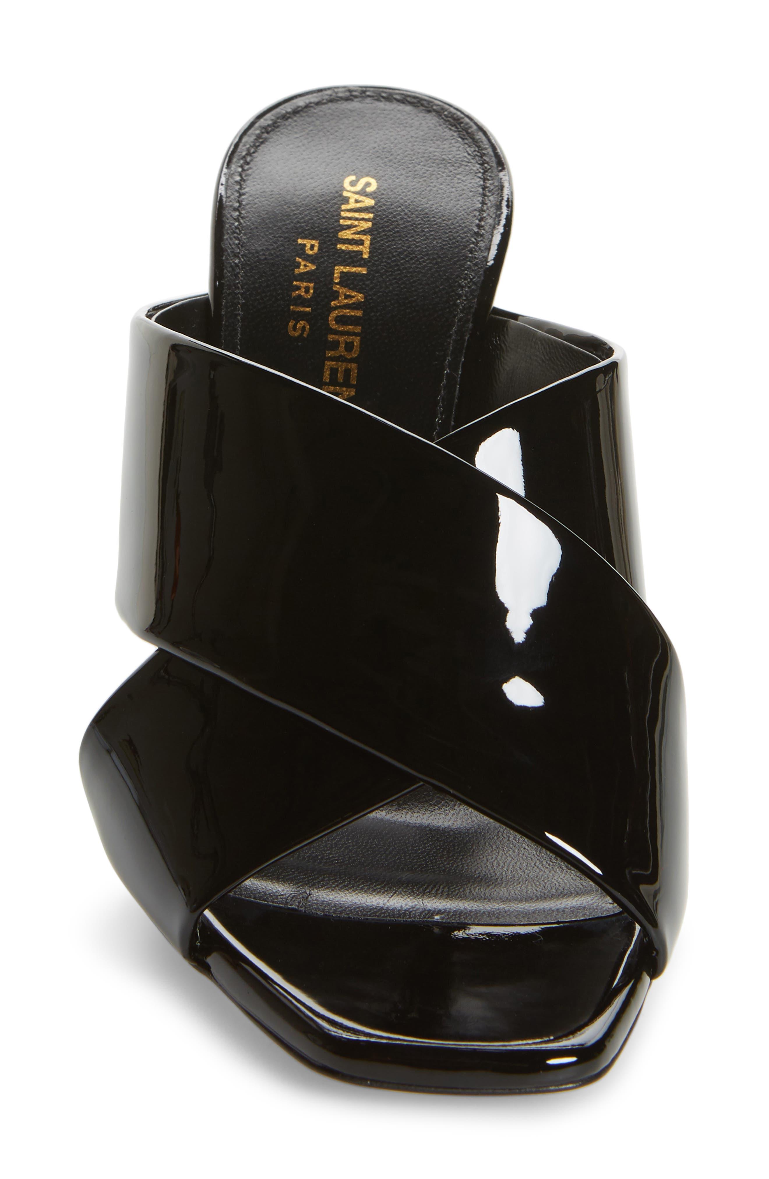 Loulou Slide Sandal,                             Alternate thumbnail 4, color,                             BLACK PATENT