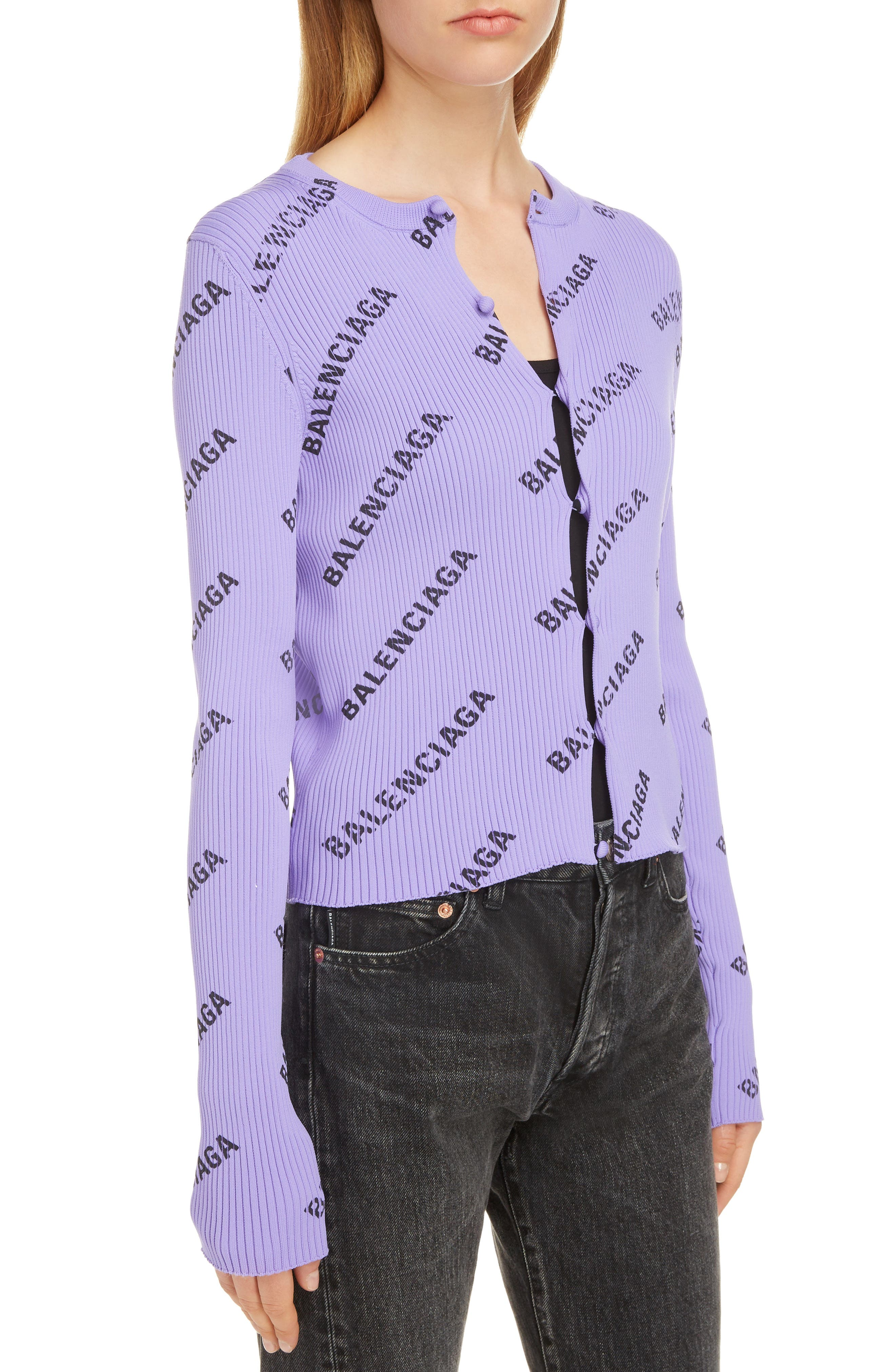 Logo Print Rib Knit Cardigan,                             Alternate thumbnail 4, color,                             LILAC/ BLACK