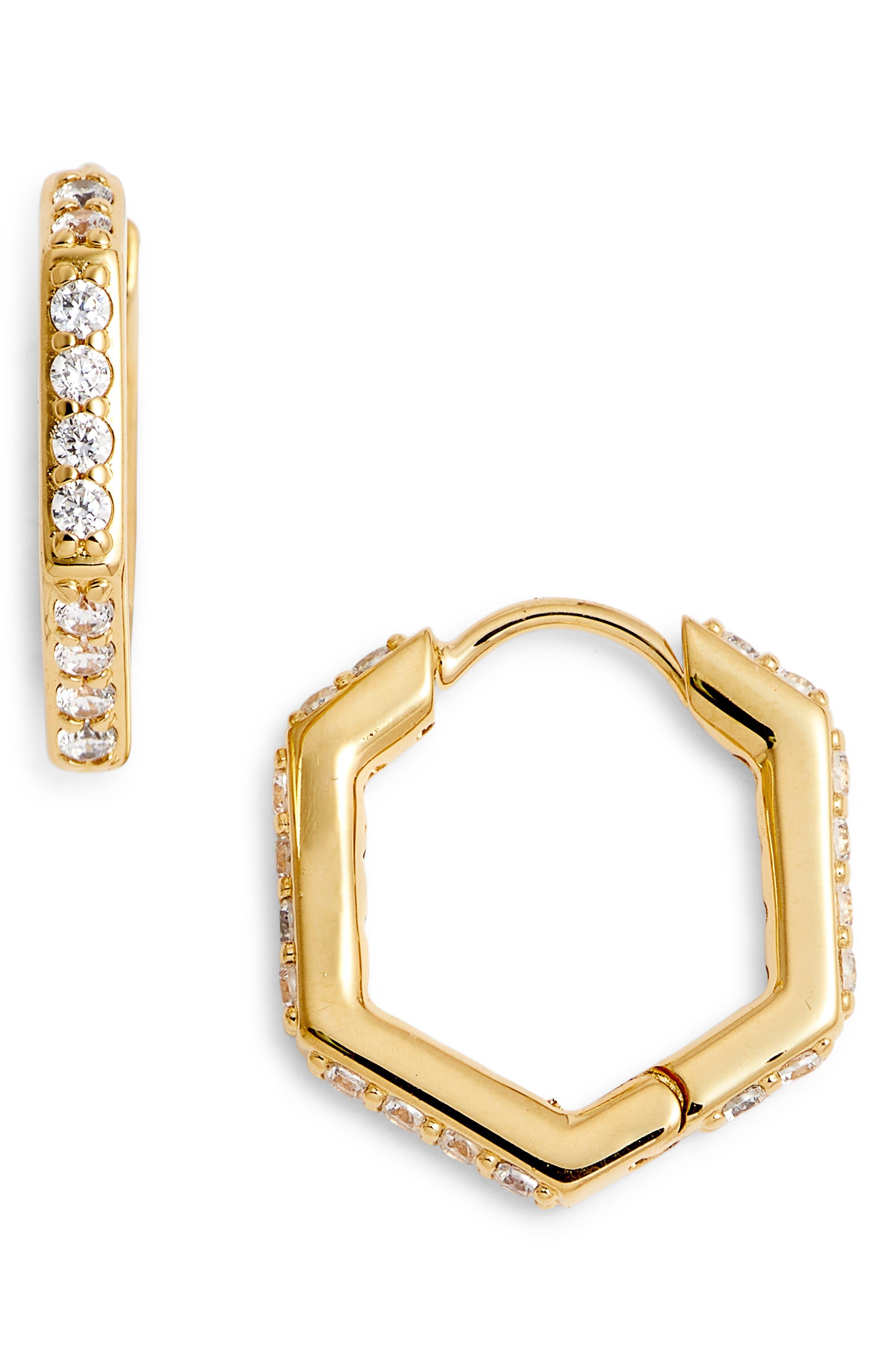 NADRI Hexagon Huggie Earrings, Main, color, GOLD