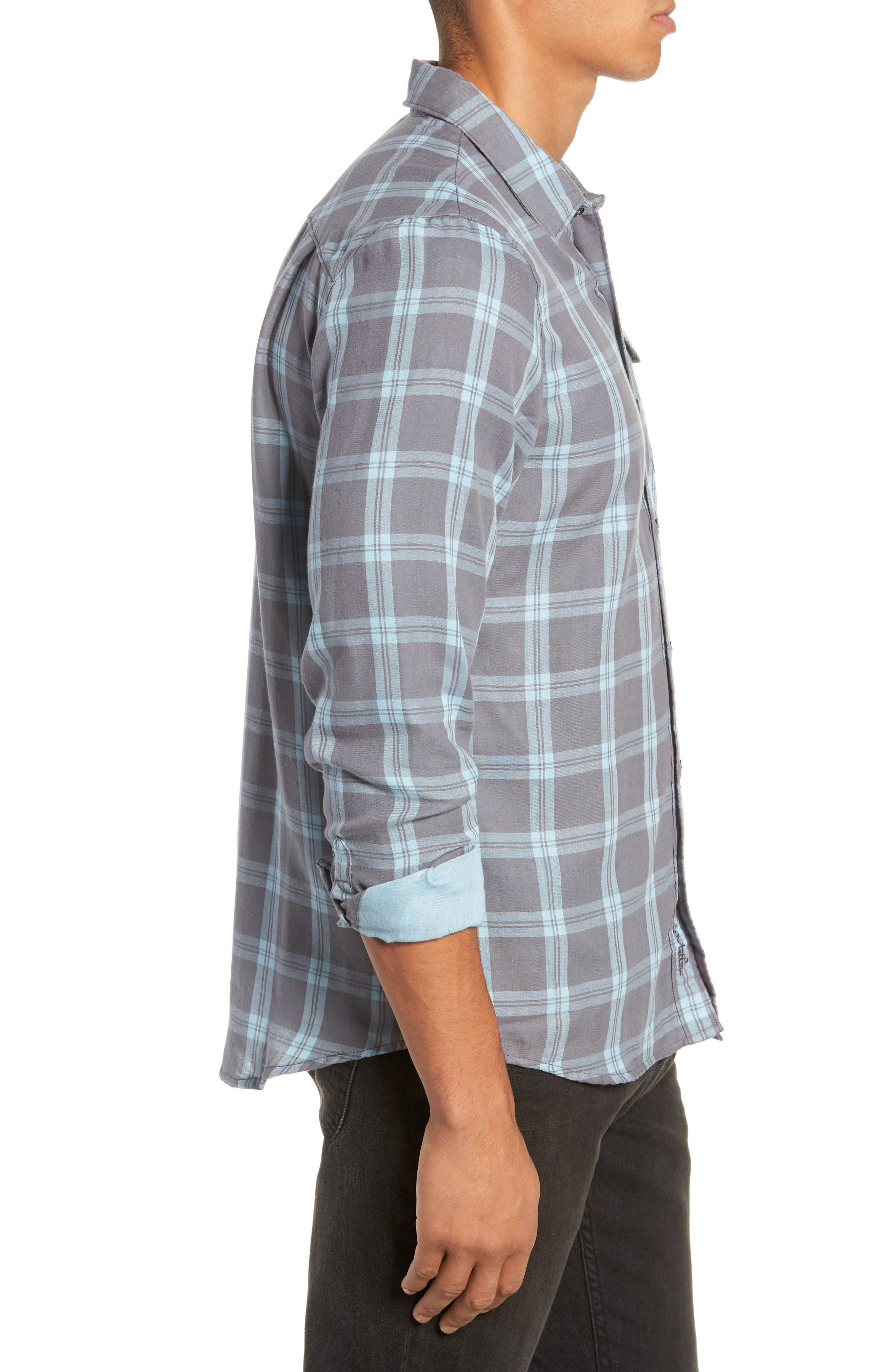 Thomas Regular Fit Check Sport Shirt,                             Alternate thumbnail 4, color,                             QUITE SHADE
