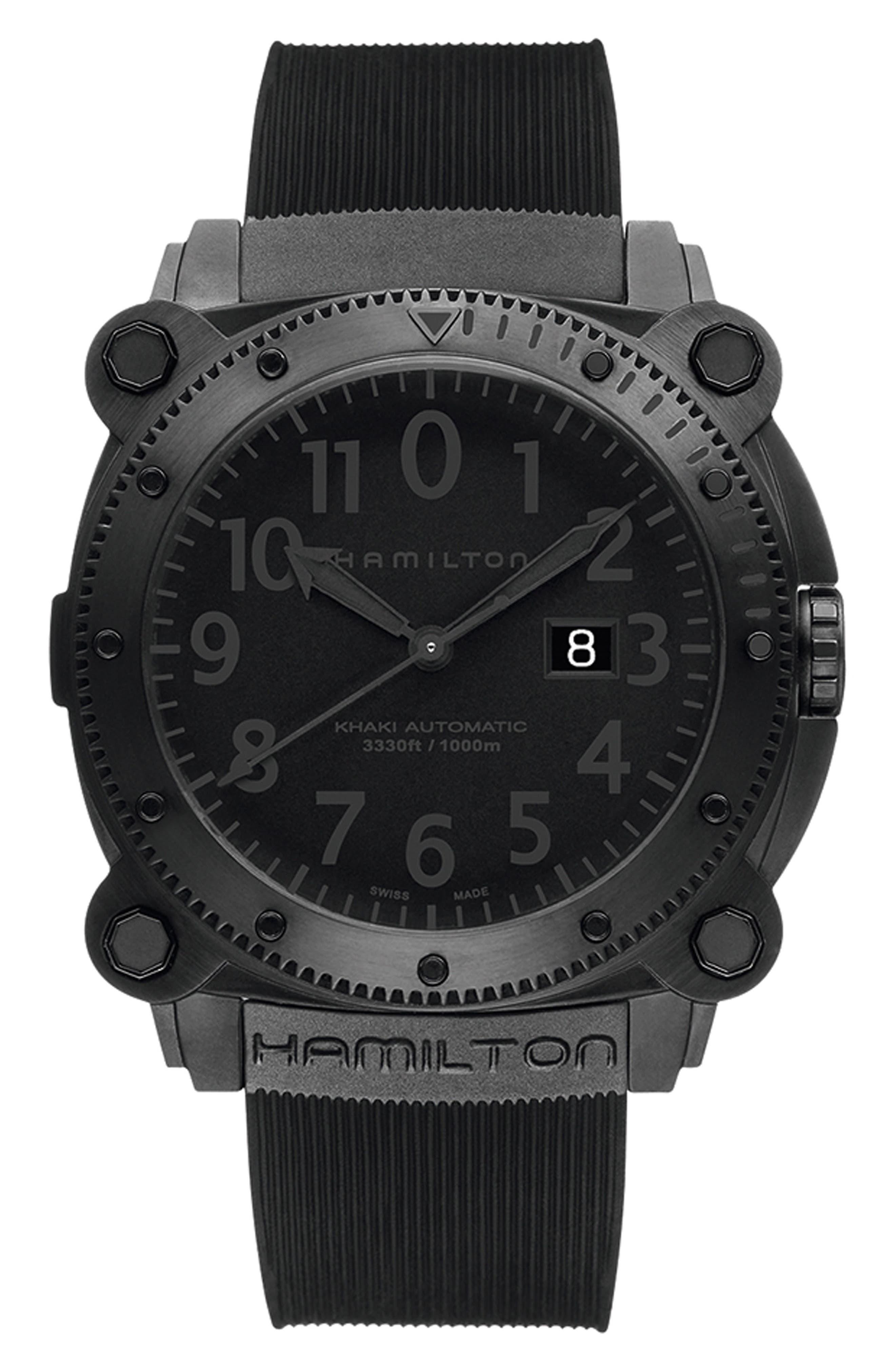 Khaki BelowZero Automatic Rubber Strap Watch, 46mm,                             Main thumbnail 1, color,                             BLACK