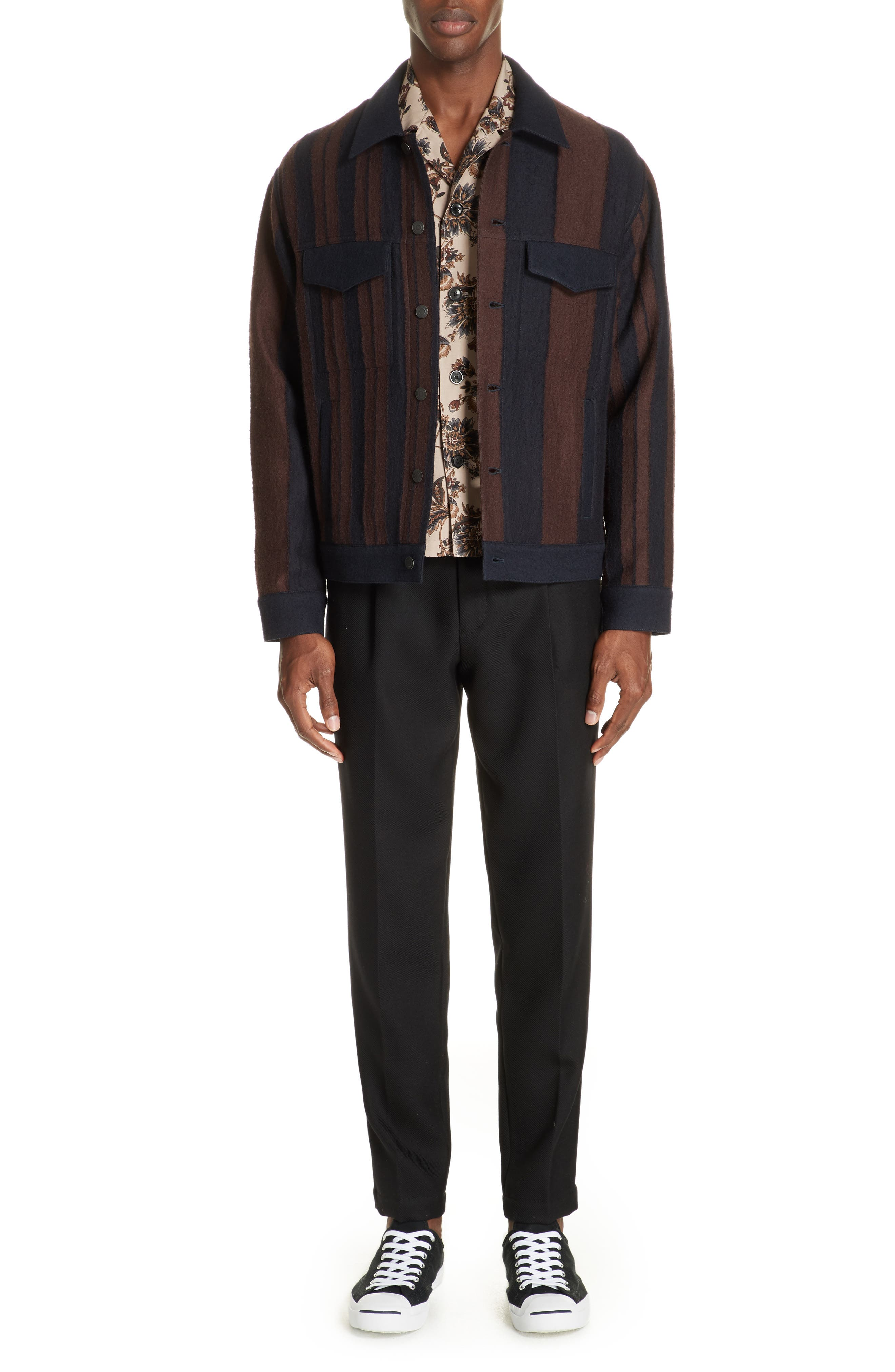 Stripe Wool Blend Jacket,                             Alternate thumbnail 7, color,                             001