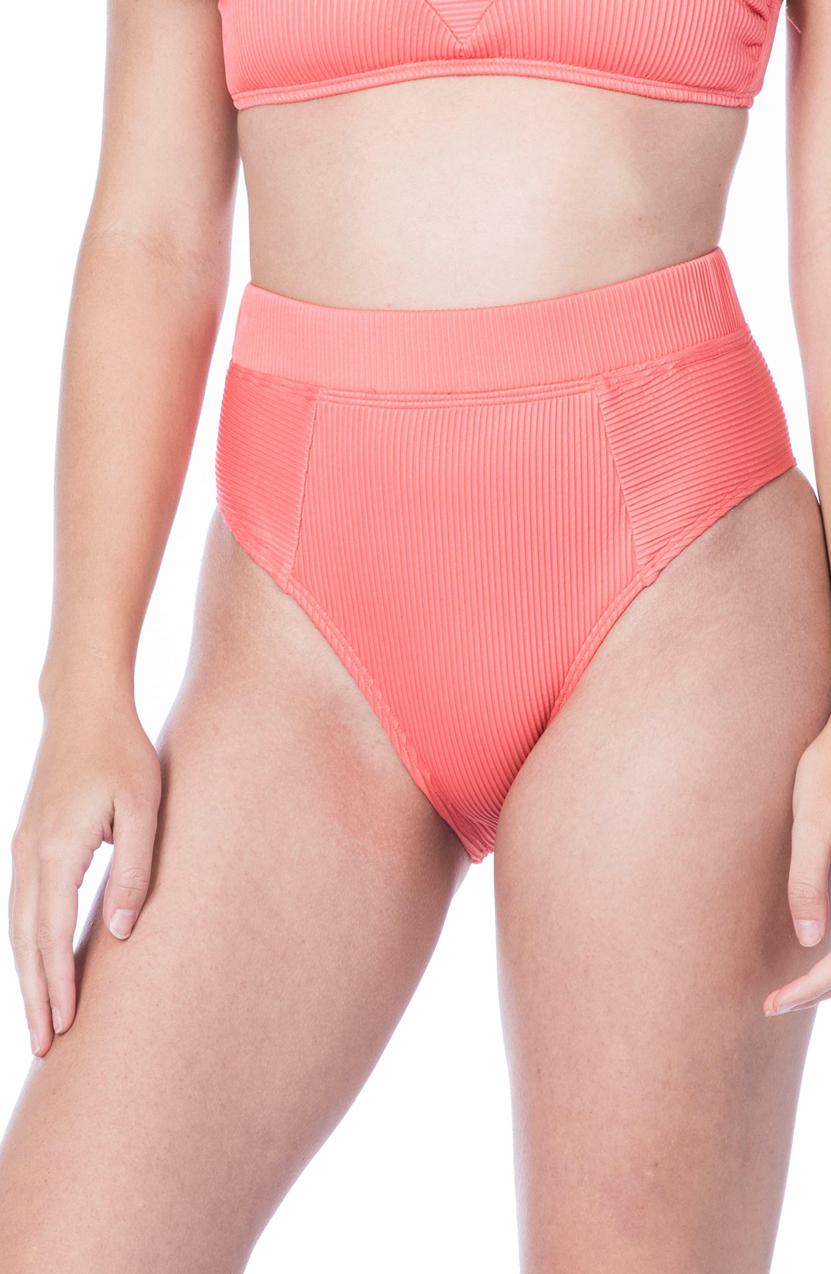 Rib-Thym High-Waist Bikini Bottoms,                             Main thumbnail 1, color,                             950