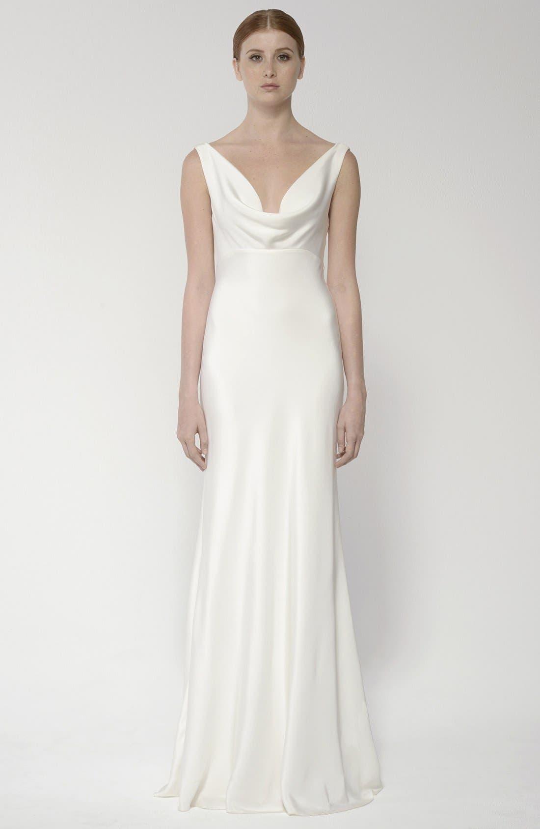 Draped Neck Silk Crepe Wedding Dress,                             Alternate thumbnail 3, color,                             900